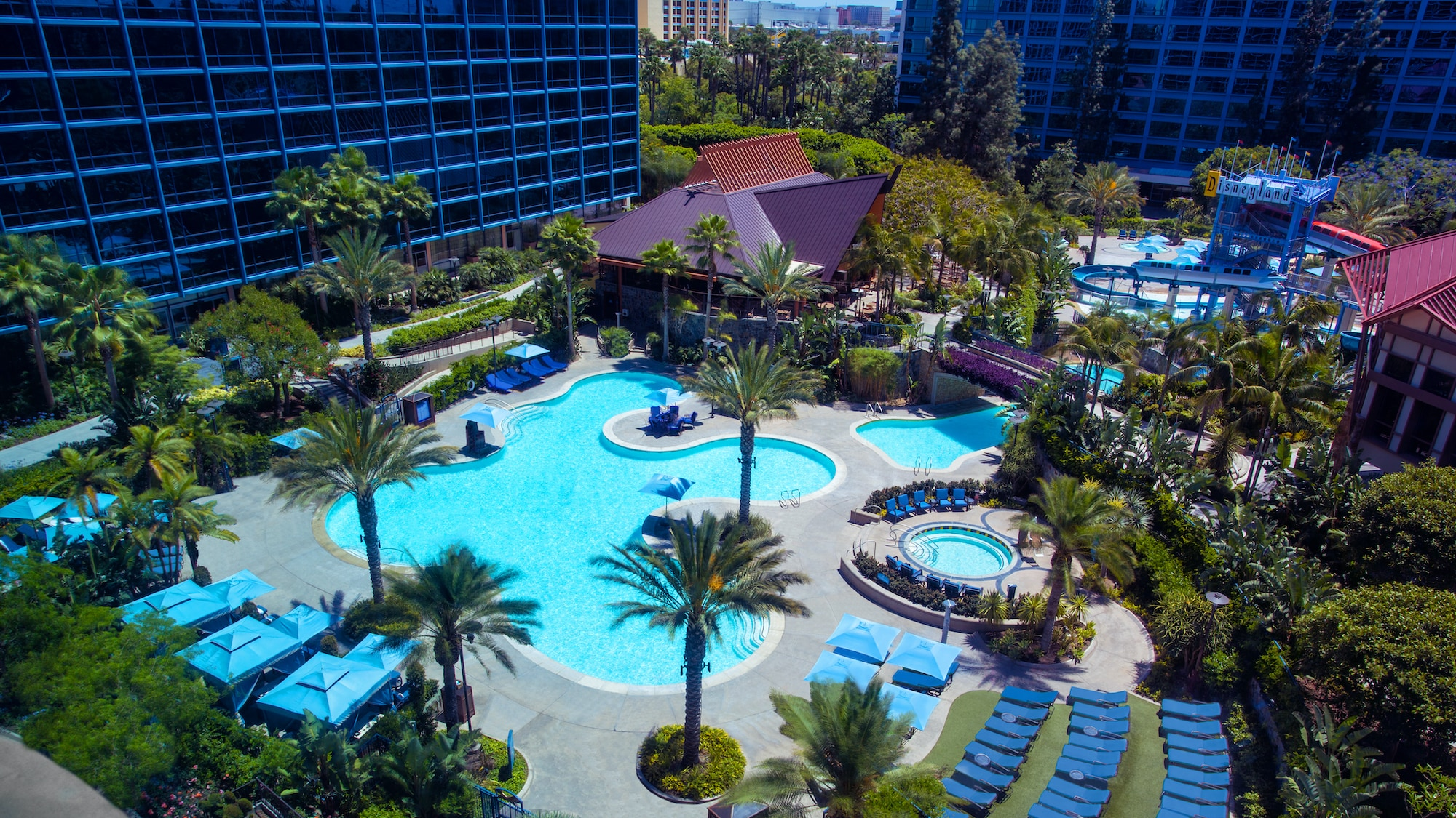 Image of the pool at the Disneyland Hotel.