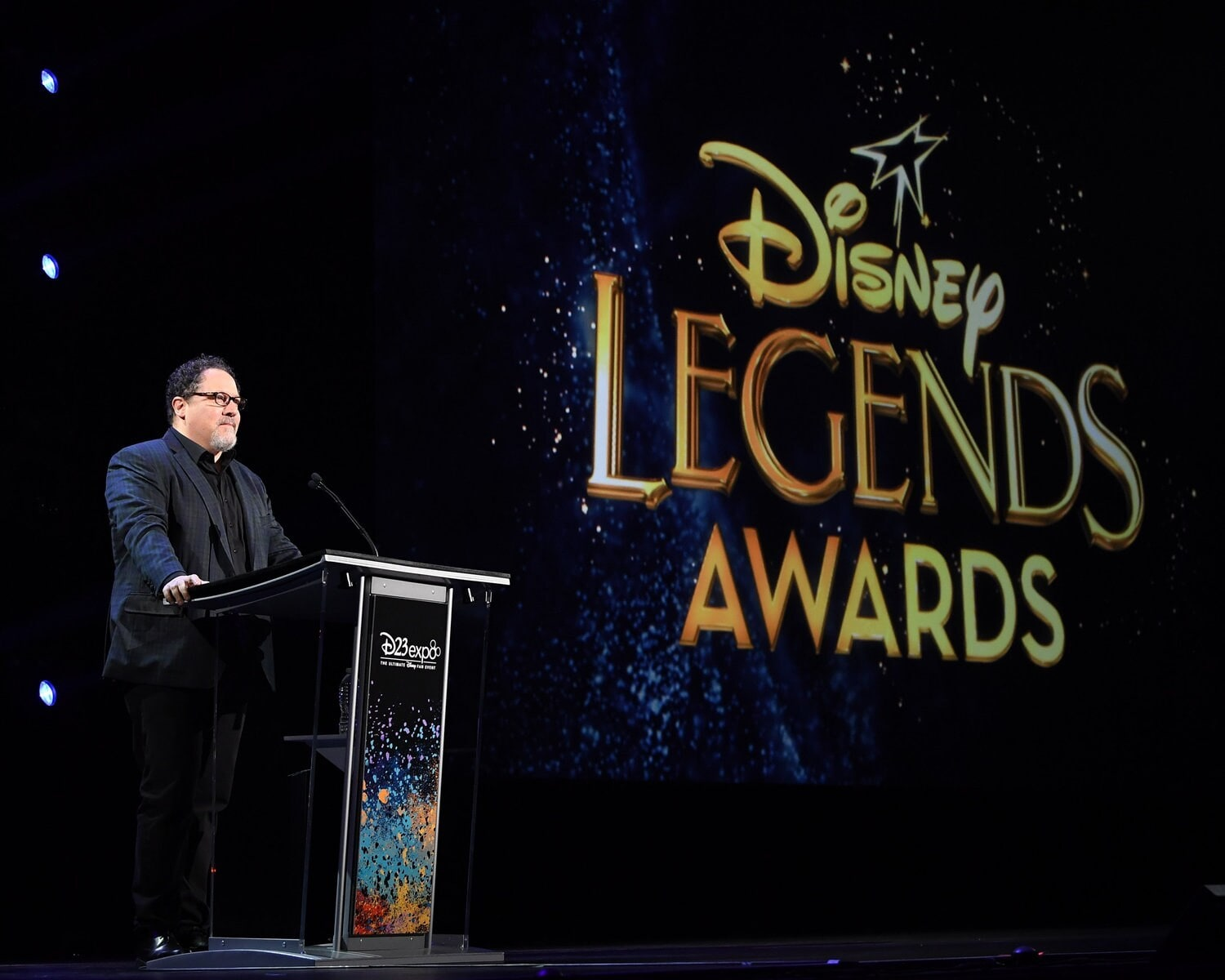 John Favreau at the Disney Legends Awards podium