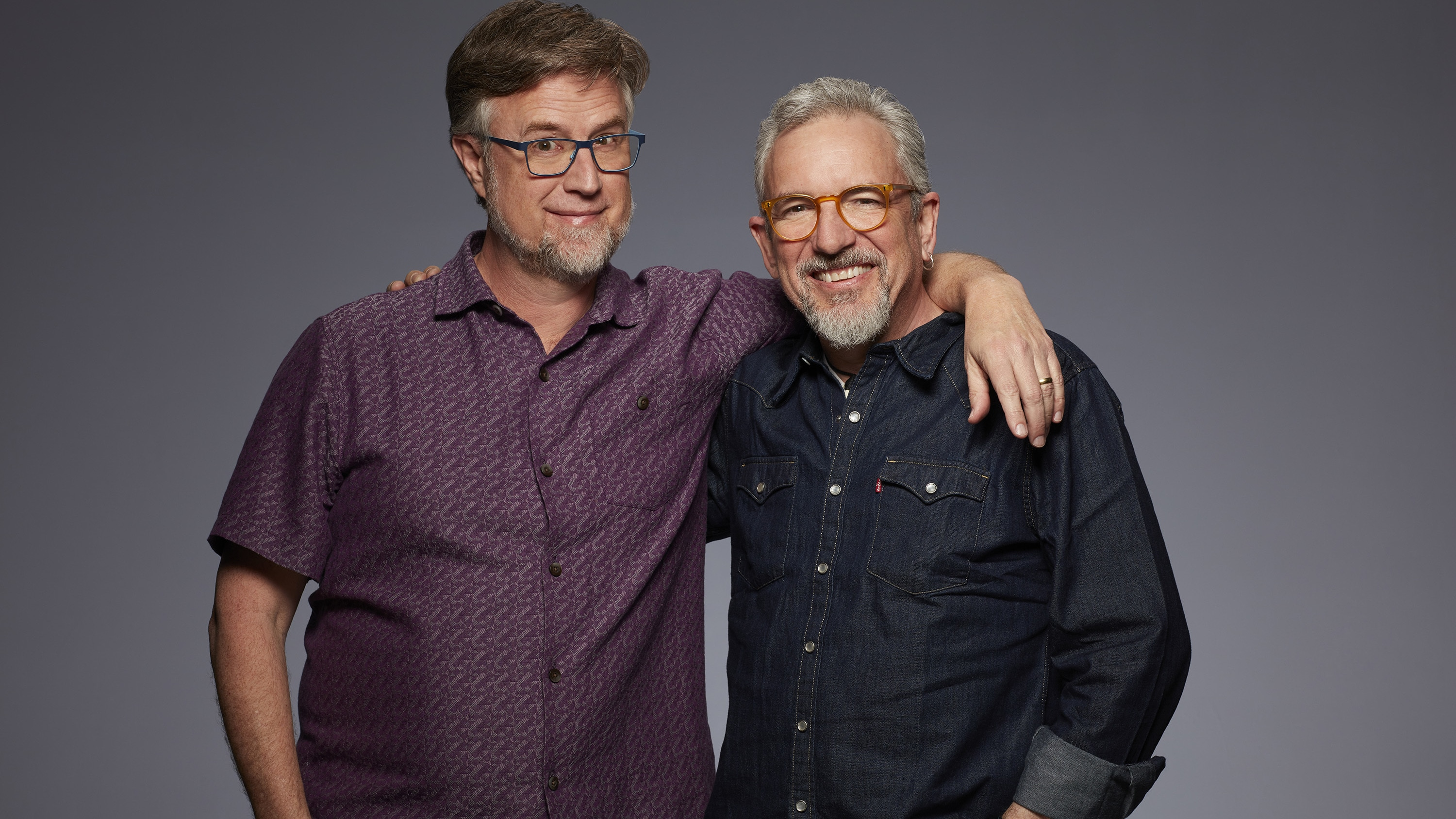 """Dan Povenmire and Jeff """"Swampy"""" Marsh, Creators/Executive Producers of Disney's """"Phineas and Ferb The Movie: Candace Against The Universe"""". (Disney+/Craig Sjodin)"""
