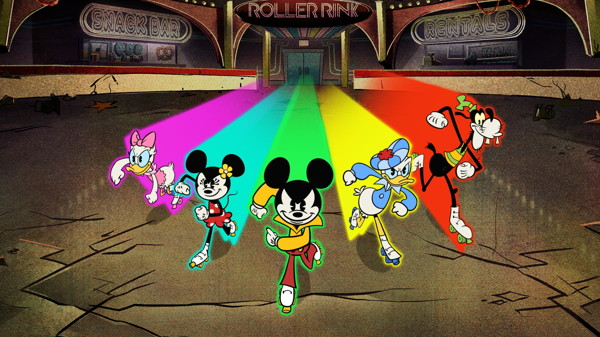 "THE WONDERFUL WORLD OF MICKEY MOUSE - ""Keep on Rollin"" - Mickey and his friends' disco night at the roller rink is placed in peril when Peg-Leg Pete and his gang crash the party and ruin the fun. (Disney+) DAISY DUCK, MINNIE MOUSE, MICKEY MOUSE, DONALD DUCK, GOOFY"