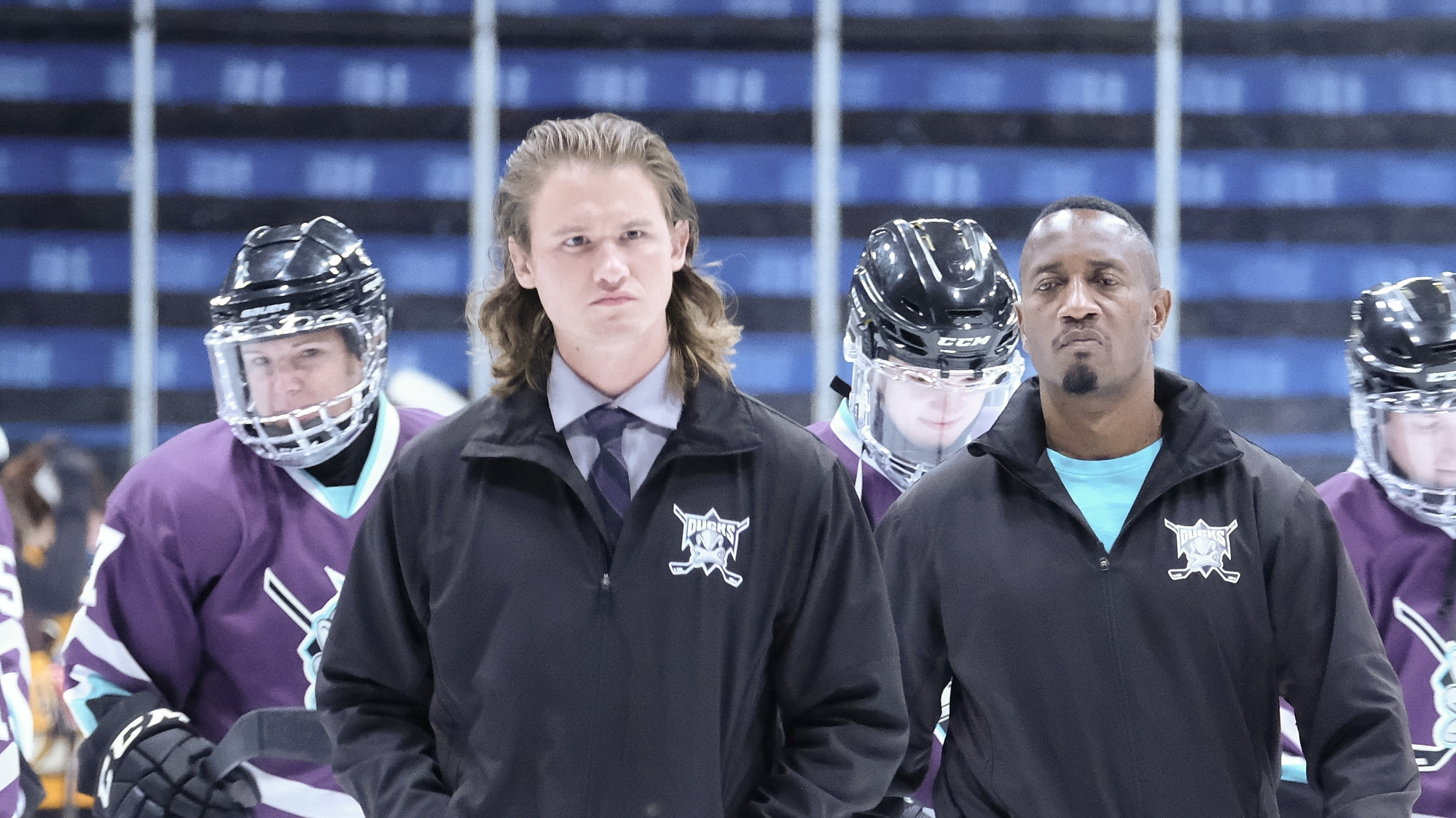 "THE MIGHTY DUCKS: GAME CHANGERS - ""Breakaway"" - Alex tries to be a real coach, Evan recruits Sofi, and the team gets unexpected help...from Bombay. (Disney/Liane Hentscher) DYLAN PLAYFAIR"