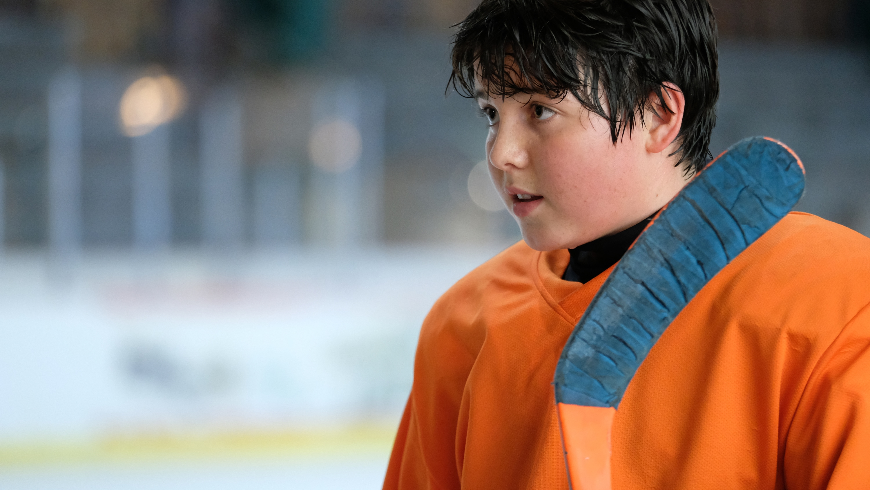 "THE MIGHTY DUCKS: GAME CHANGERS - ""Breakaway"" - Alex tries to be a real coach, Evan recruits Sofi, and the team gets unexpected help...from Bombay.  (Disney/Liane Hentscher) BRADY NOON"