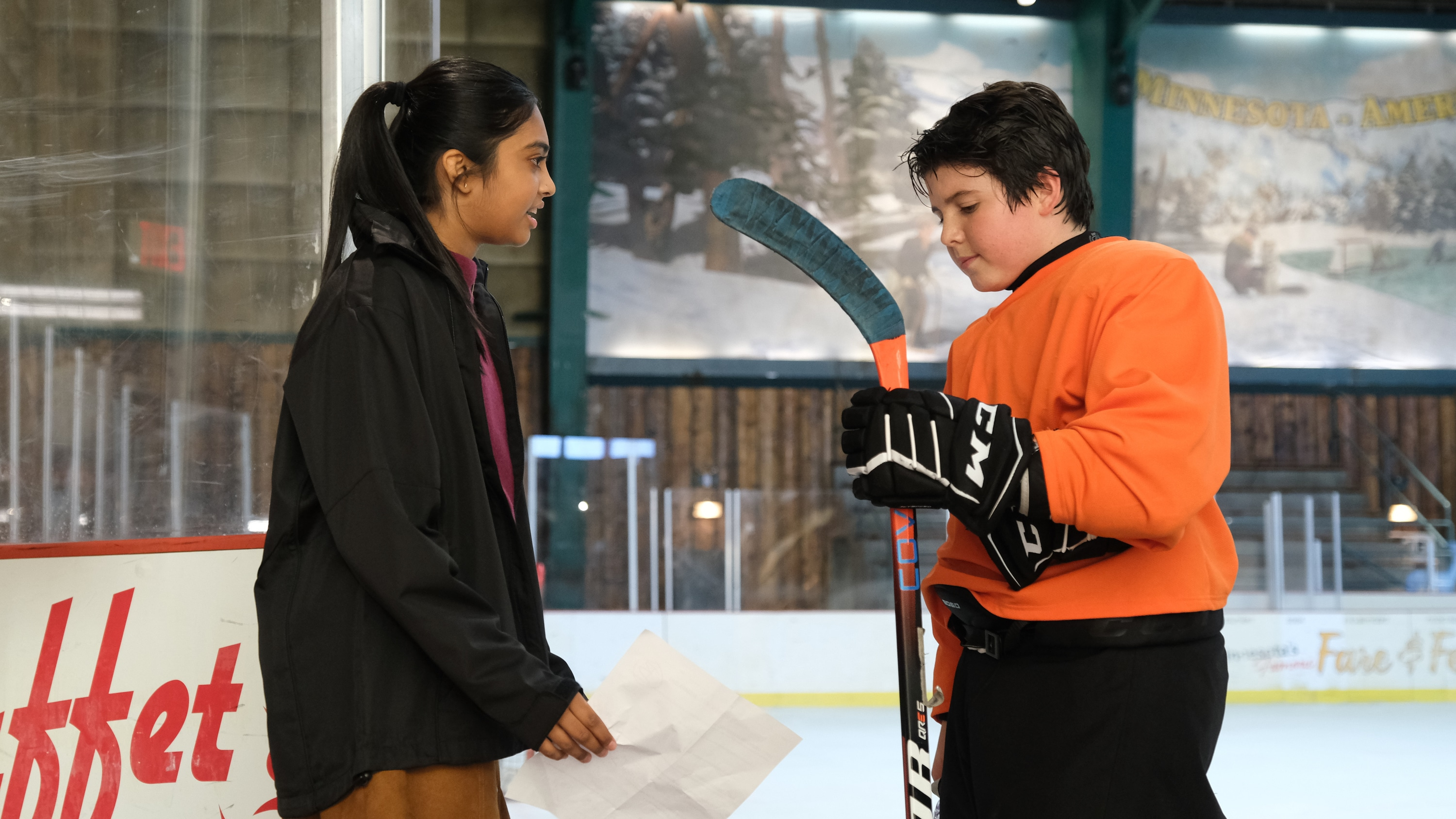 "THE MIGHTY DUCKS: GAME CHANGERS - ""Breakaway"" - Alex tries to be a real coach, Evan recruits Sofi, and the team gets unexpected help...from Bombay.  (Disney/Liane Hentscher) SWAYAM BHATIA, BRADY NOON"