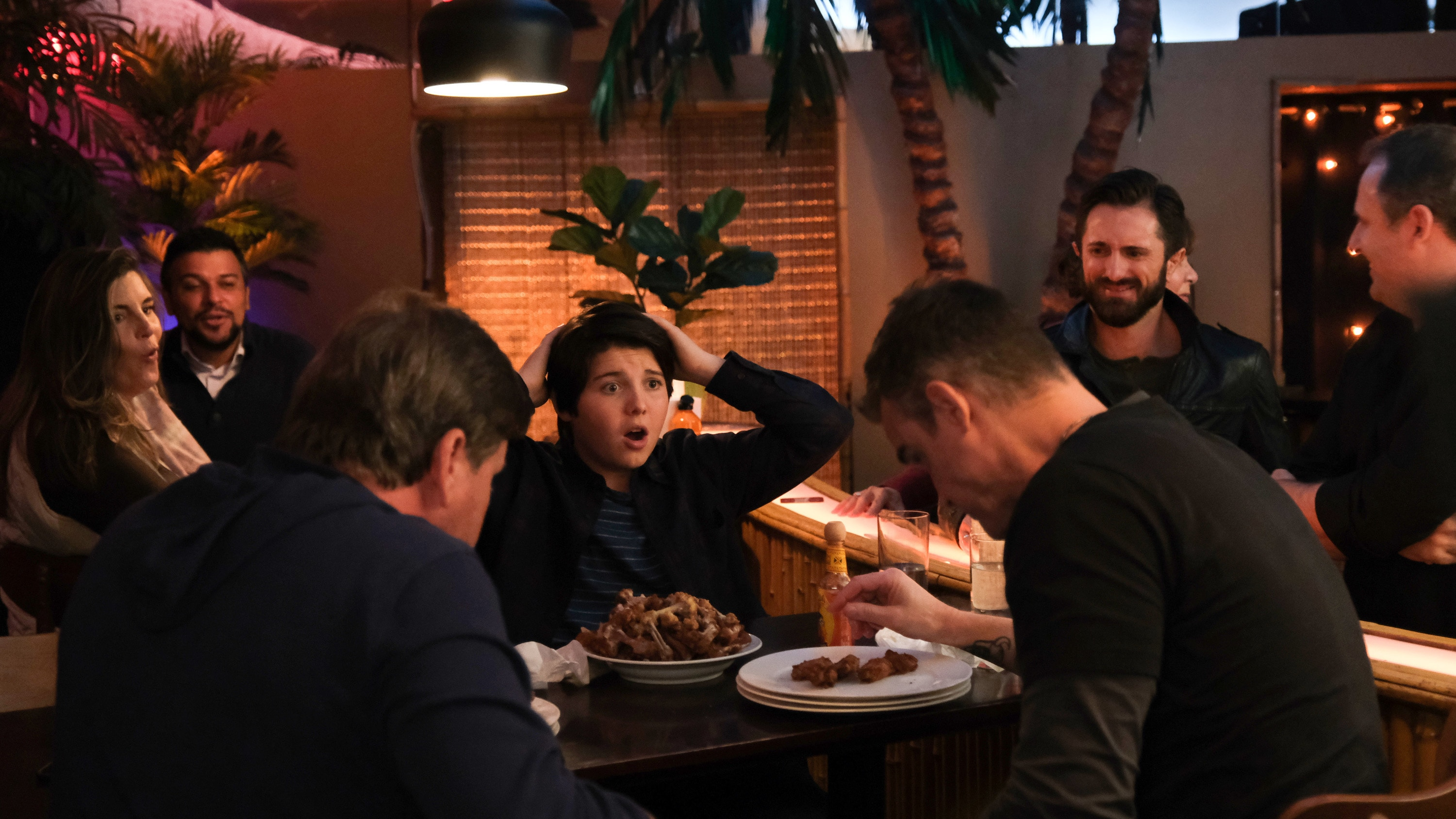 """THE MIGHTY DUCKS: GAME CHANGERS - """"Cherry Picker"""" - Evan's rocker dad unexpectedly shows up, complicating things for Evan, Alex, and even Bombay.  (Disney/Liane Hentscher) BRADY NOON"""
