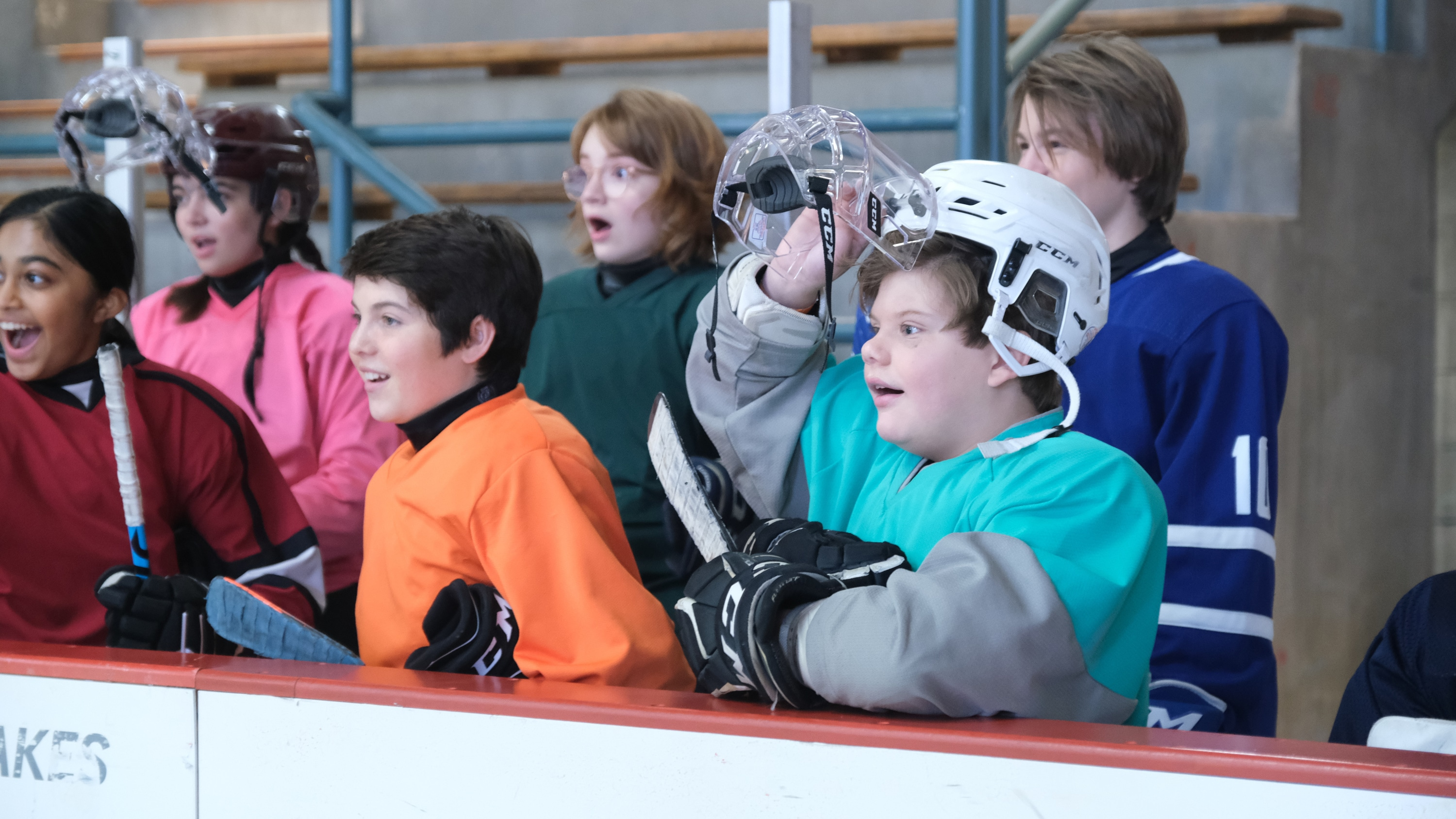 "THE MIGHTY DUCKS: GAME CHANGERS - ""Spirit of the Ducks"" - With the original Ducks back in town, Evan and Bombay each consider where their loyalties lie. (Disney/Liane Hentscher) BRADY NOON, MAXWELL SIMPKINS"