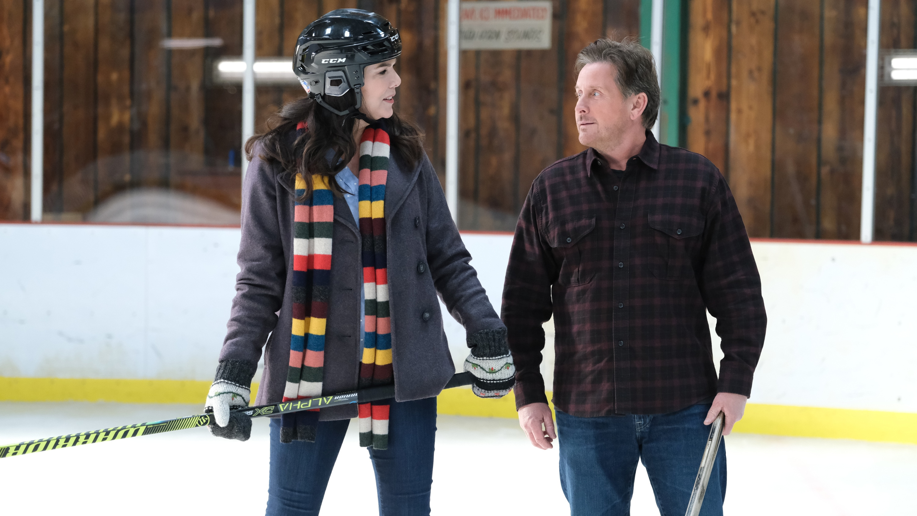 "THE MIGHTY DUCKS: GAME CHANGERS - ""Spirit of the Ducks"" - With the original Ducks back in town, Evan and Bombay each consider where their loyalties lie. (Disney/Liane Hentscher) LAUREN GRAHAM, EMILIO ESTEVEZ"