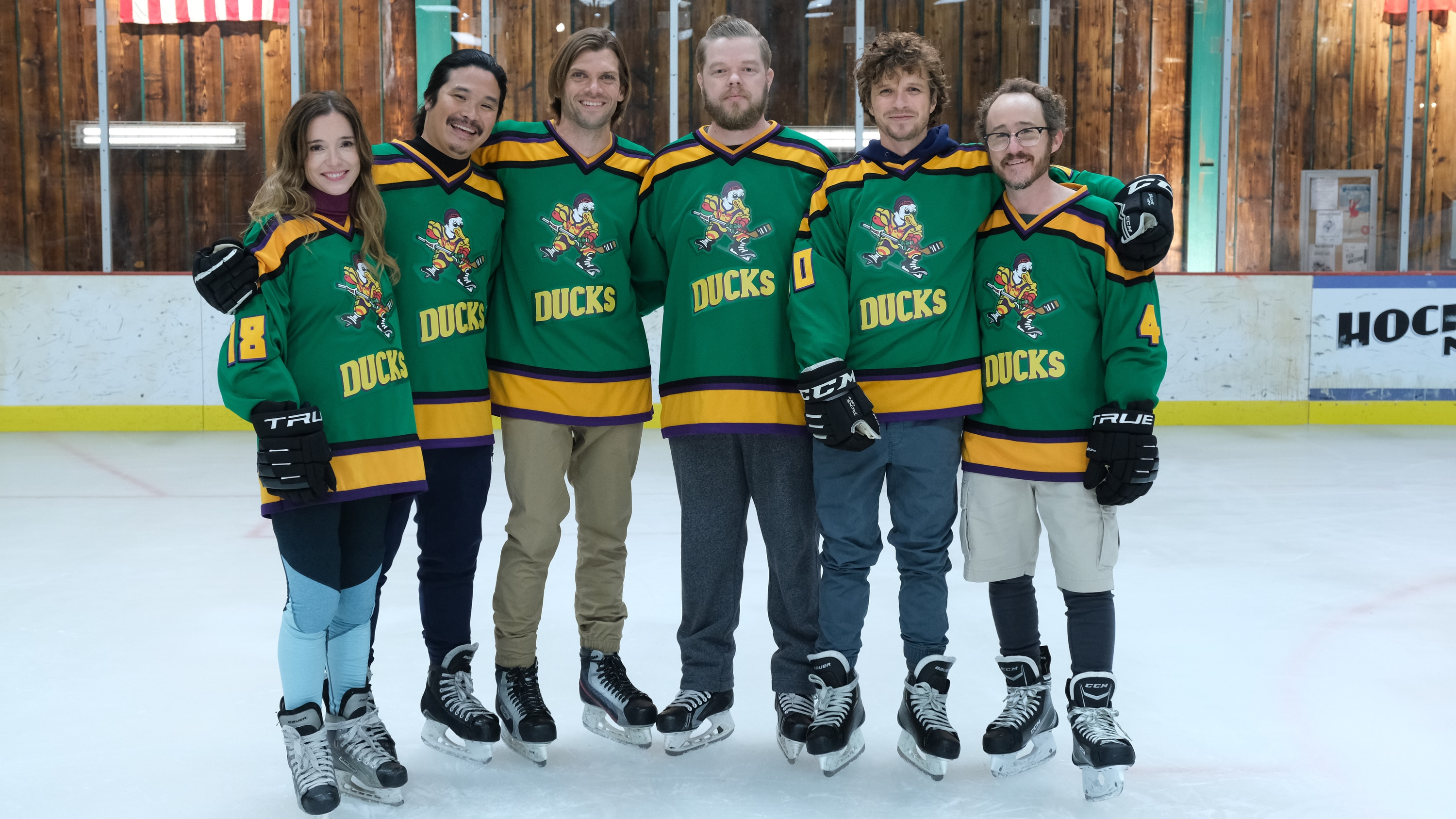"THE MIGHTY DUCKS: GAME CHANGERS - ""Spirit of the Ducks"" - With the original Ducks back in town, Evan and Bombay each consider where their loyalties lie. (Disney/Liane Hentscher) MARGUERITE MOREAU, JUSTIN WONG, VINCENT LARUSSO, ELDEN HENSON, GARETTE HENSON, MATT DOHERTY"