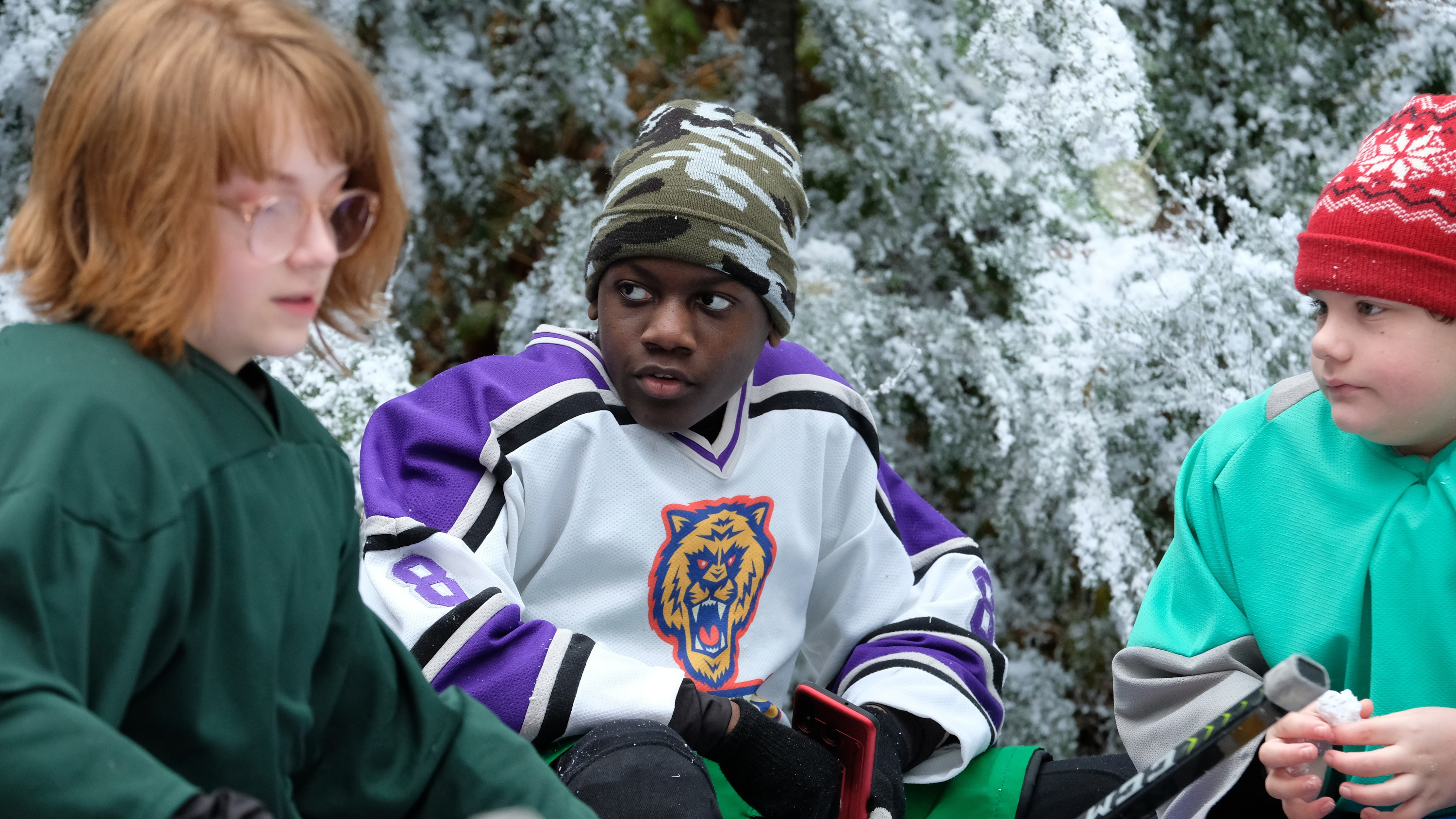 """THE MIGHTY DUCKS: GAME CHANGERS - """"Pond Hockey"""" - With the team mad at Evan, and Alex unsure of her coaching skills, Bombay brings them somewhere new. (Disney/Liane Hentscher) DE'JON WATTS"""