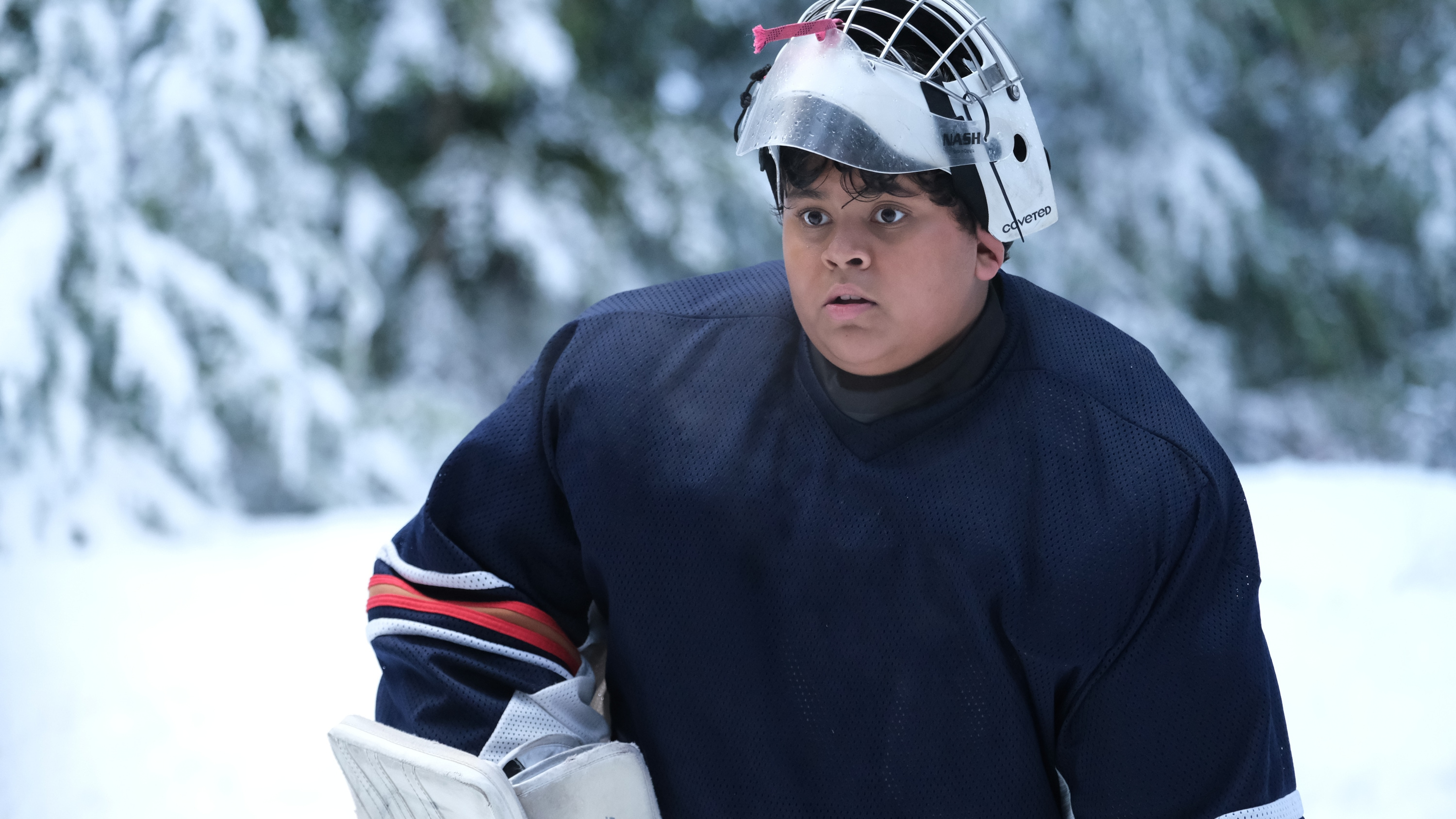 """THE MIGHTY DUCKS: GAME CHANGERS - """"Pond Hockey"""" - With the team mad at Evan, and Alex unsure of her coaching skills, Bombay brings them somewhere new. (Disney/Liane Hentscher) LUKE ISLAM"""