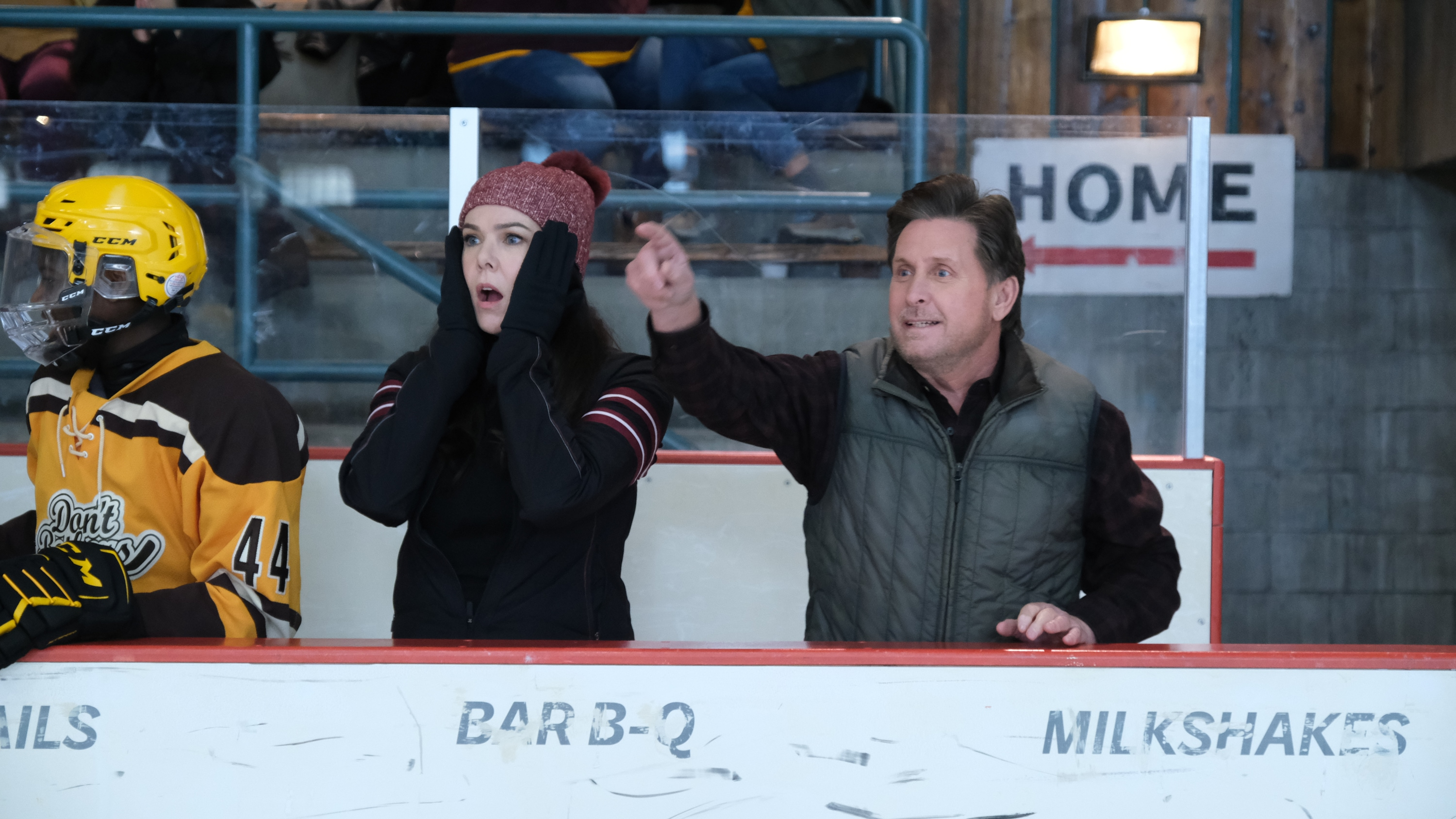 """THE MIGHTY DUCKS: GAME CHANGERS - """"Change on the Fly"""" - With the State Tournament on the horizon, Alex realizes she likes winning more than she thought. (Disney/Liane Hentscher) LAUREN GRAHAM, EMILIO ESTEVEZ"""