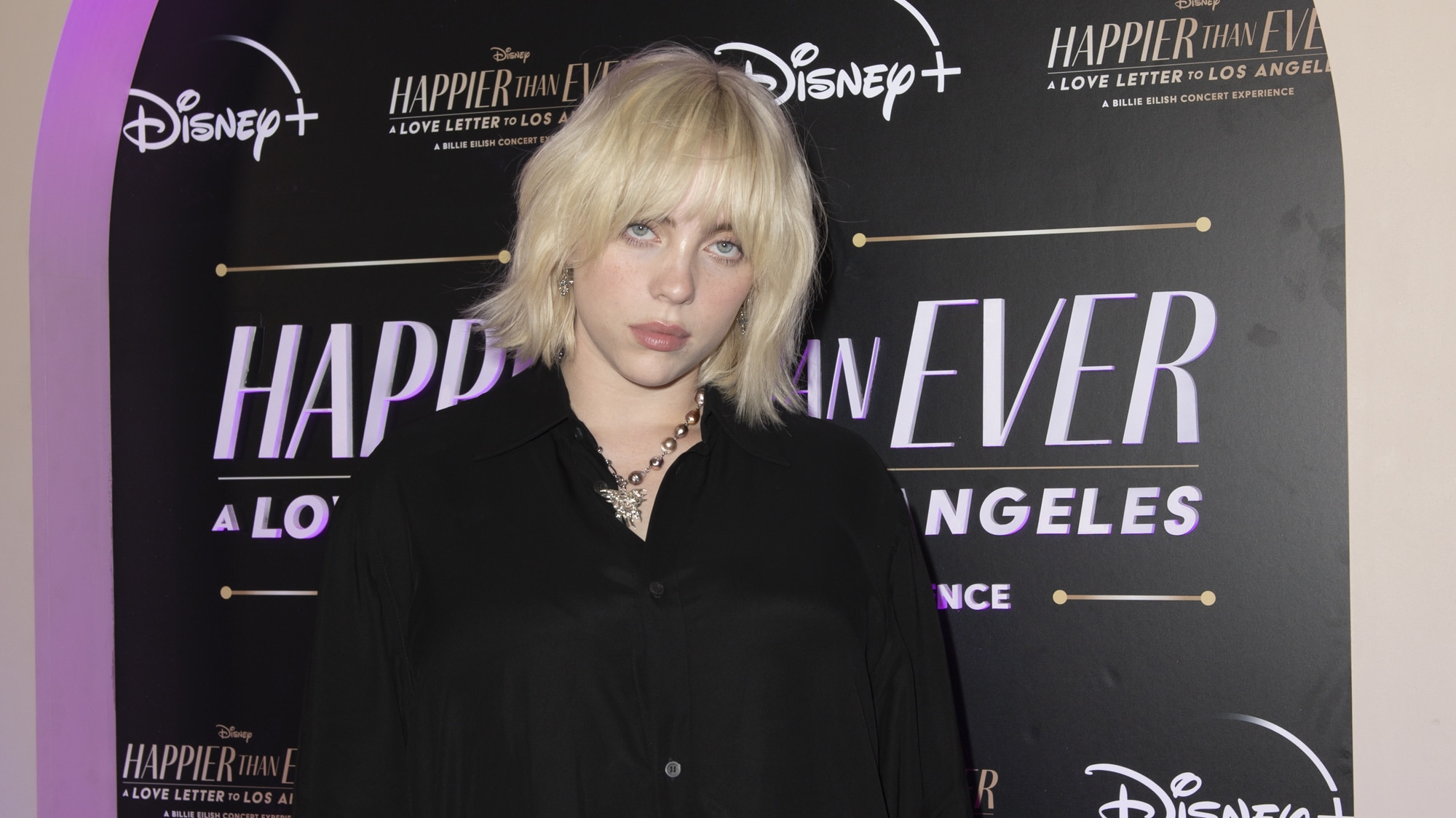 """HAPPIER THAN EVER: A LOVE LETTER TO LOS ANGELES - Stars celebrated at the drive-in world premiere of the Disney+ original film, """"Happier Than Ever: A Love Letter to Los Angeles,"""" a Billie Eilish concert experience, at The Grove in Los Angeles, Calif., Monday, August 30, 2021. (Disney/Kyusung Gong) BILLIE EILISH"""