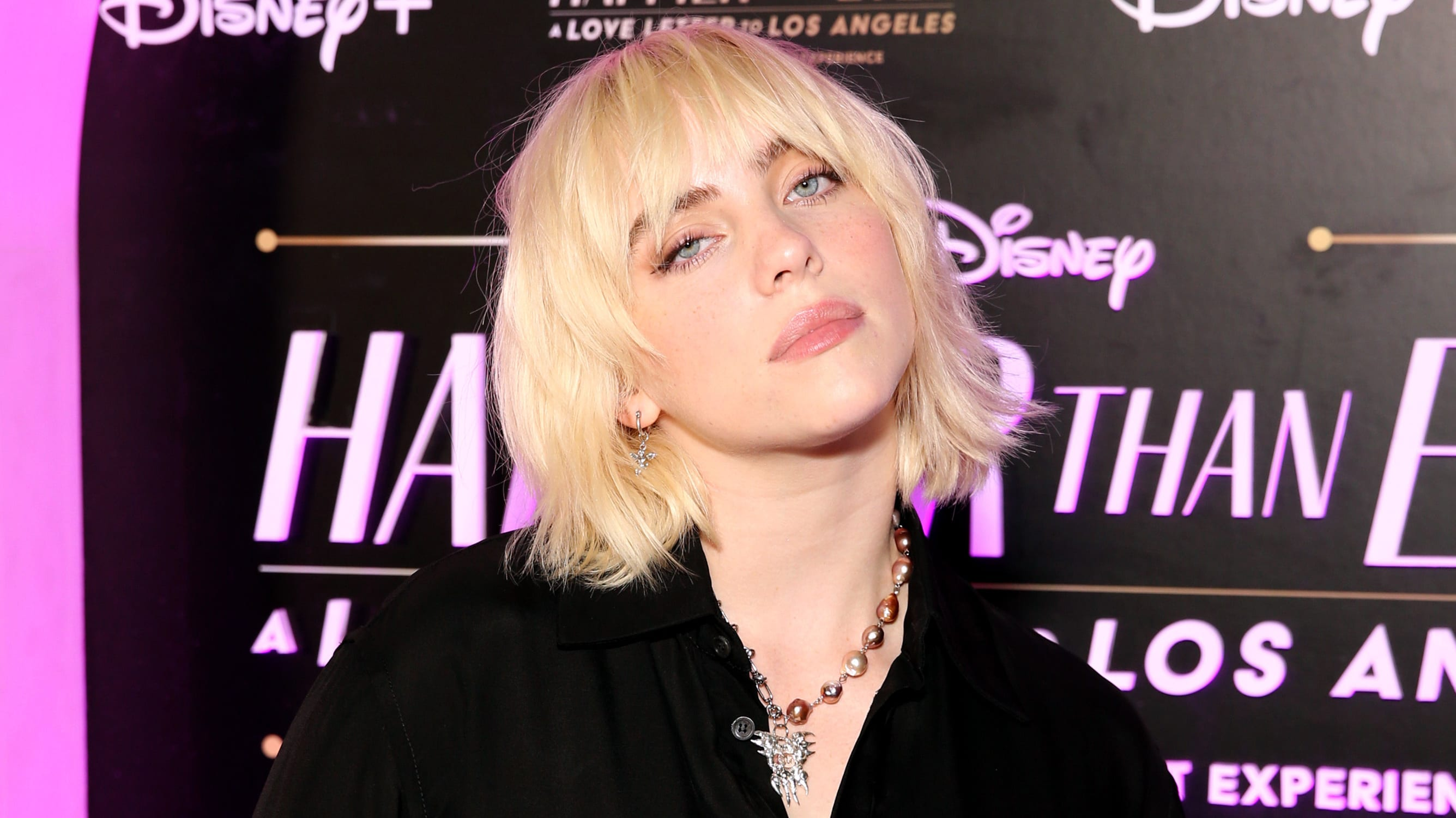 """LOS ANGELES, CALIFORNIA - AUGUST 30: Billie Eilish attends """"Happier Than Ever: A Love Letter To Los Angeles"""" Worldwide Premiere at The Grove on August 30, 2021 in Los Angeles, California. (Photo by Jesse Grant/Getty Images for Disney)"""