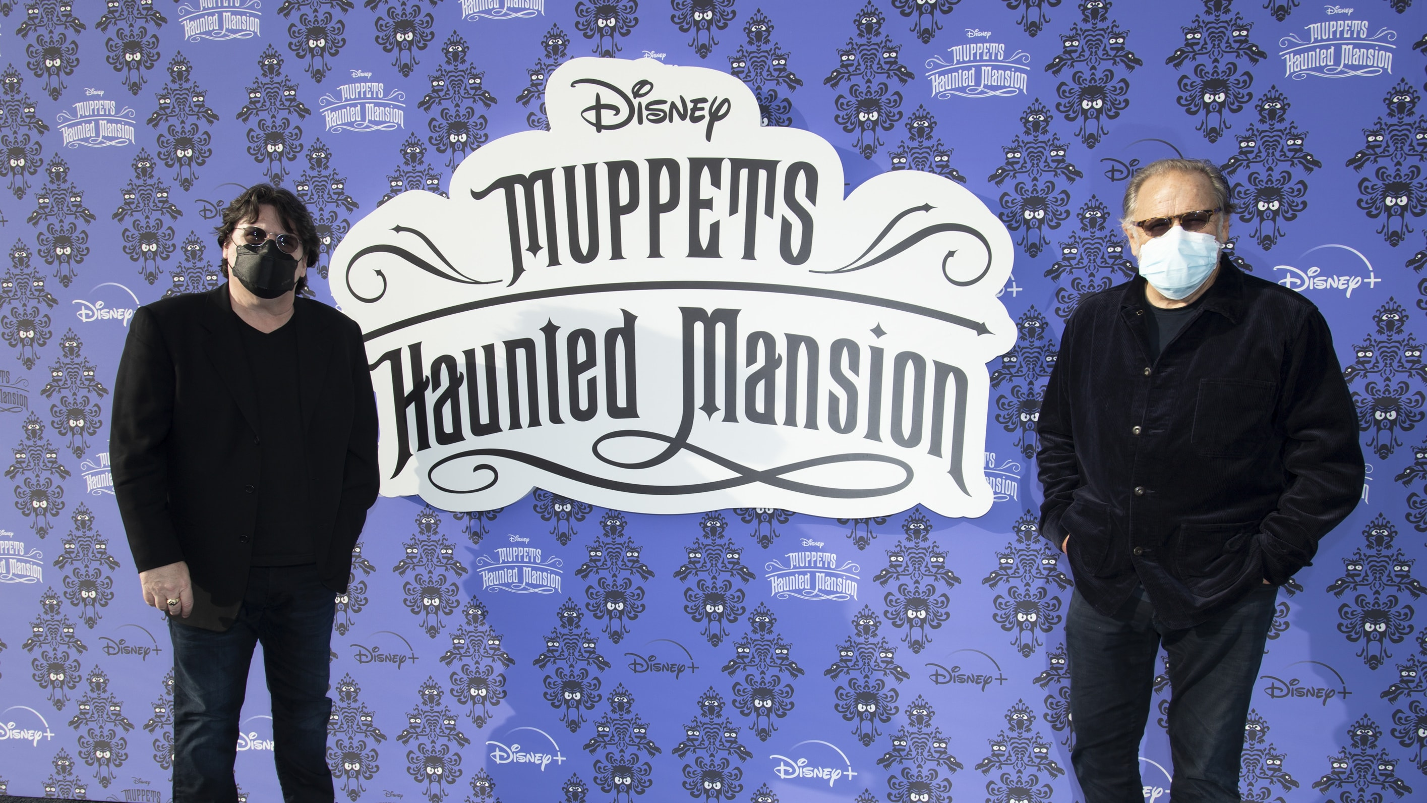 """MUPPETS HAUNTED MANSION - Stars of The Muppets first-ever Halloween special """"Muppets Haunted Mansion"""" attended the Drive-In Premiere Event at West Los Angeles College, Thursday, October 7. """"Muppets Haunted Mansion"""" is available to stream Friday, October 8 on Disney+. (Disney/Richard Harbaugh) BILL BARRETTA (PUPPETEER), DAVE GOELZ (PUPPETEER)"""