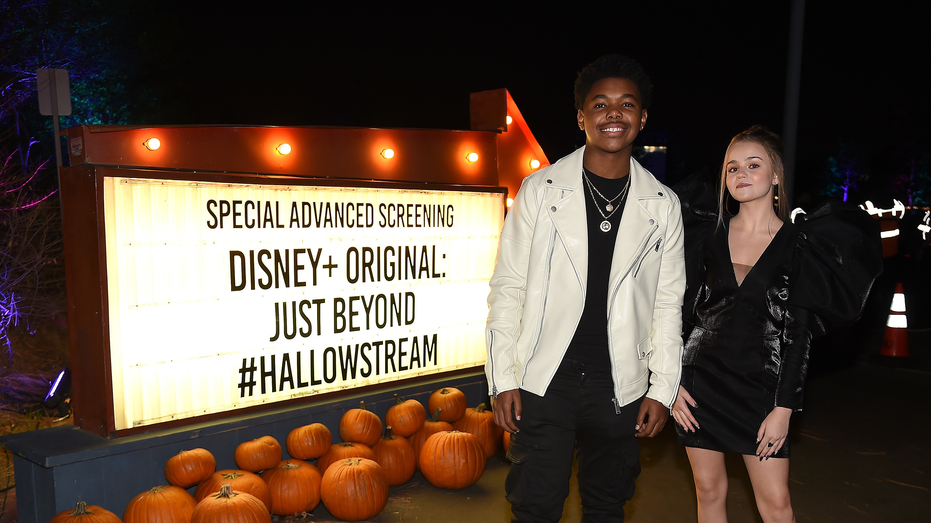 """JUST BEYOND - Stars of the R.L. Stine inspired Disney+ Original series """"Just Beyond"""" attended the Drive-In Premiere Event at West Los Angeles College, Tuesday, October 12. All episodes of """"Just Beyond"""" are available to stream Wednesday, October 13 on Disney+. (Disney/Frank Micelotta/PictureGroup) CEDRIC JOE, MEGAN STOTT"""