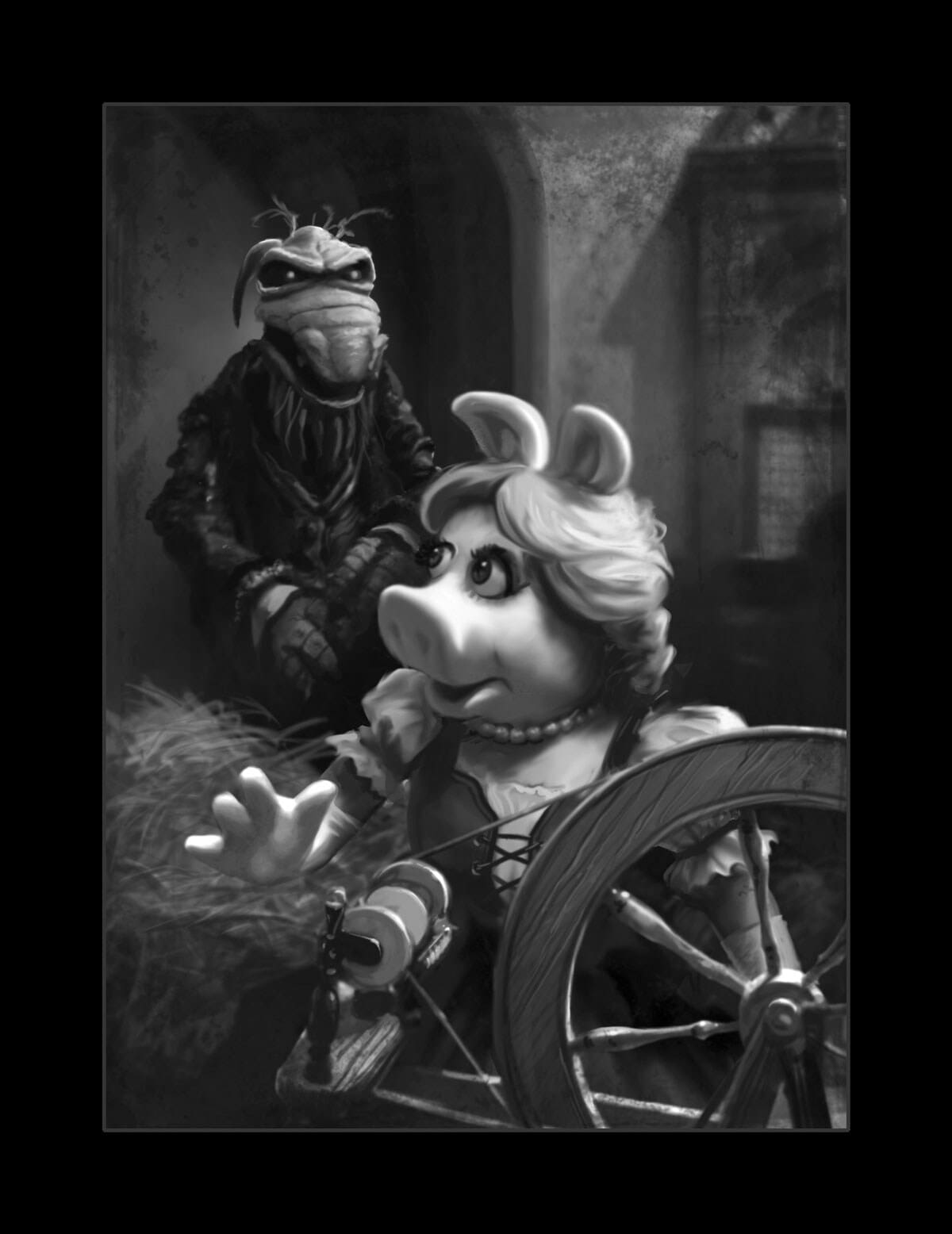 Black and white illustration of Miss Piggy and Uncle Deadly as Rumpelstiltskin