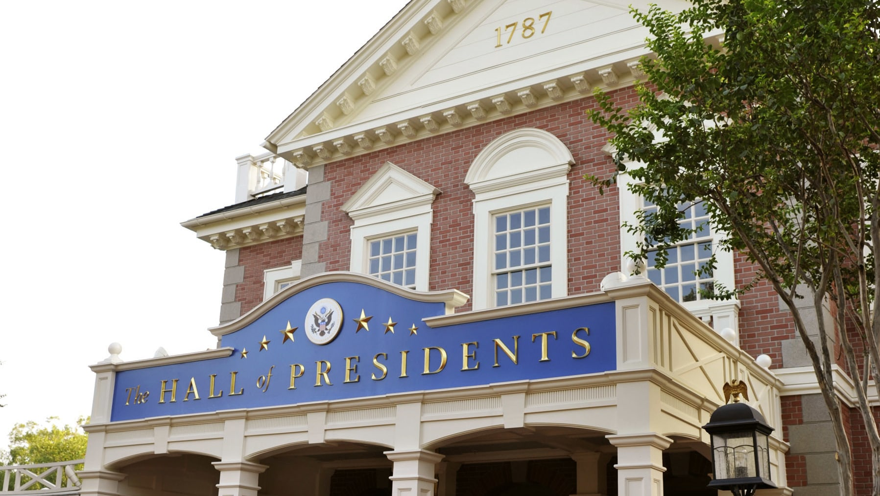 Image of The Hall of Presidents building exterior.