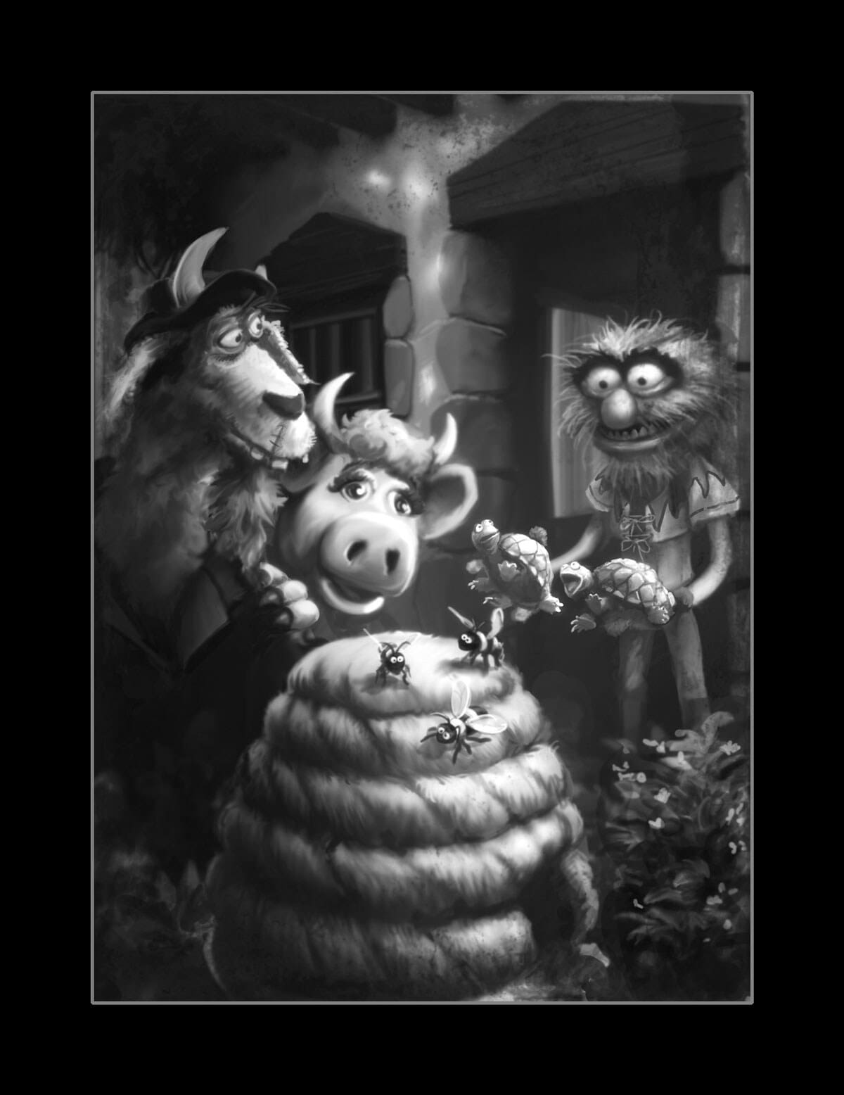 Black and white illustration Animal with Clueless Morgan from Muppet Treasure Island
