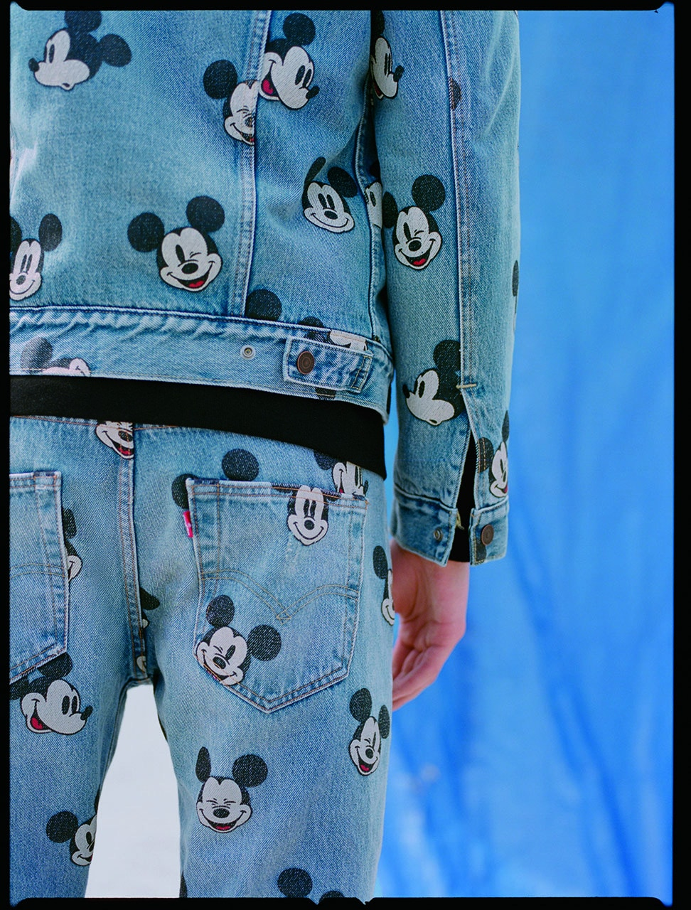 Mickey themed denim jacket and jeans
