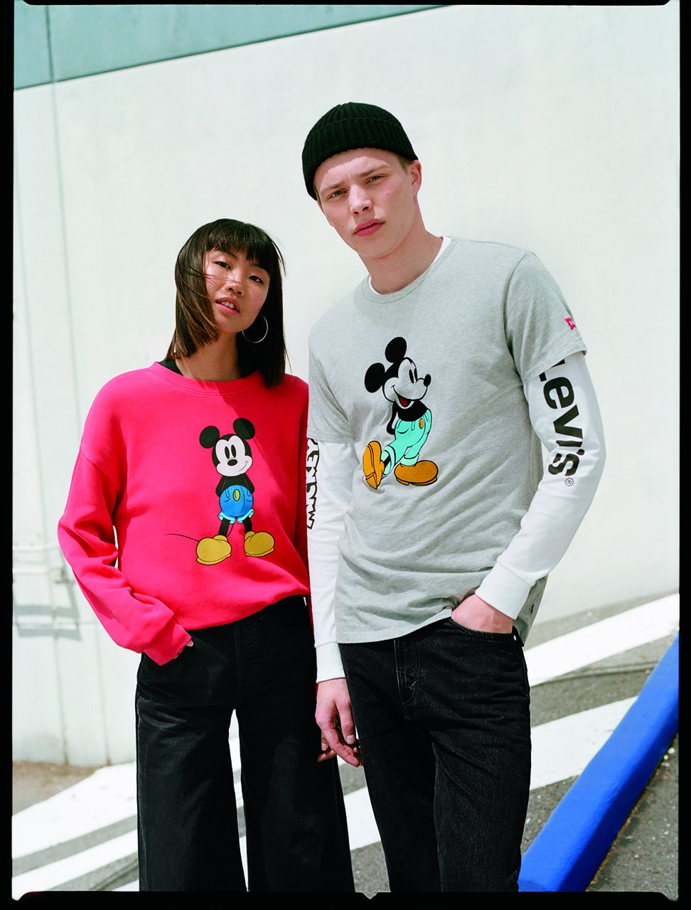 Levi Mickey Mouse themed sweat shirts and tee