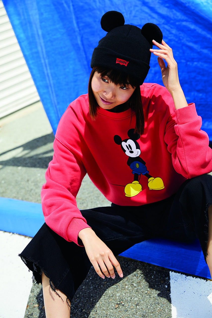 Levi Mickey Mouse themed red sweatshirt