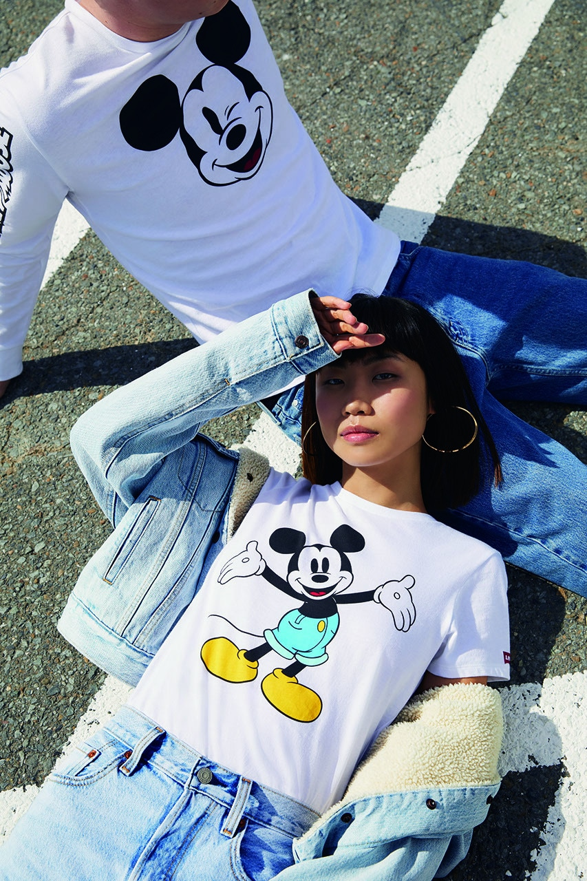 Levi Mickey Mouse themed denim sweatshirt and tee shirt