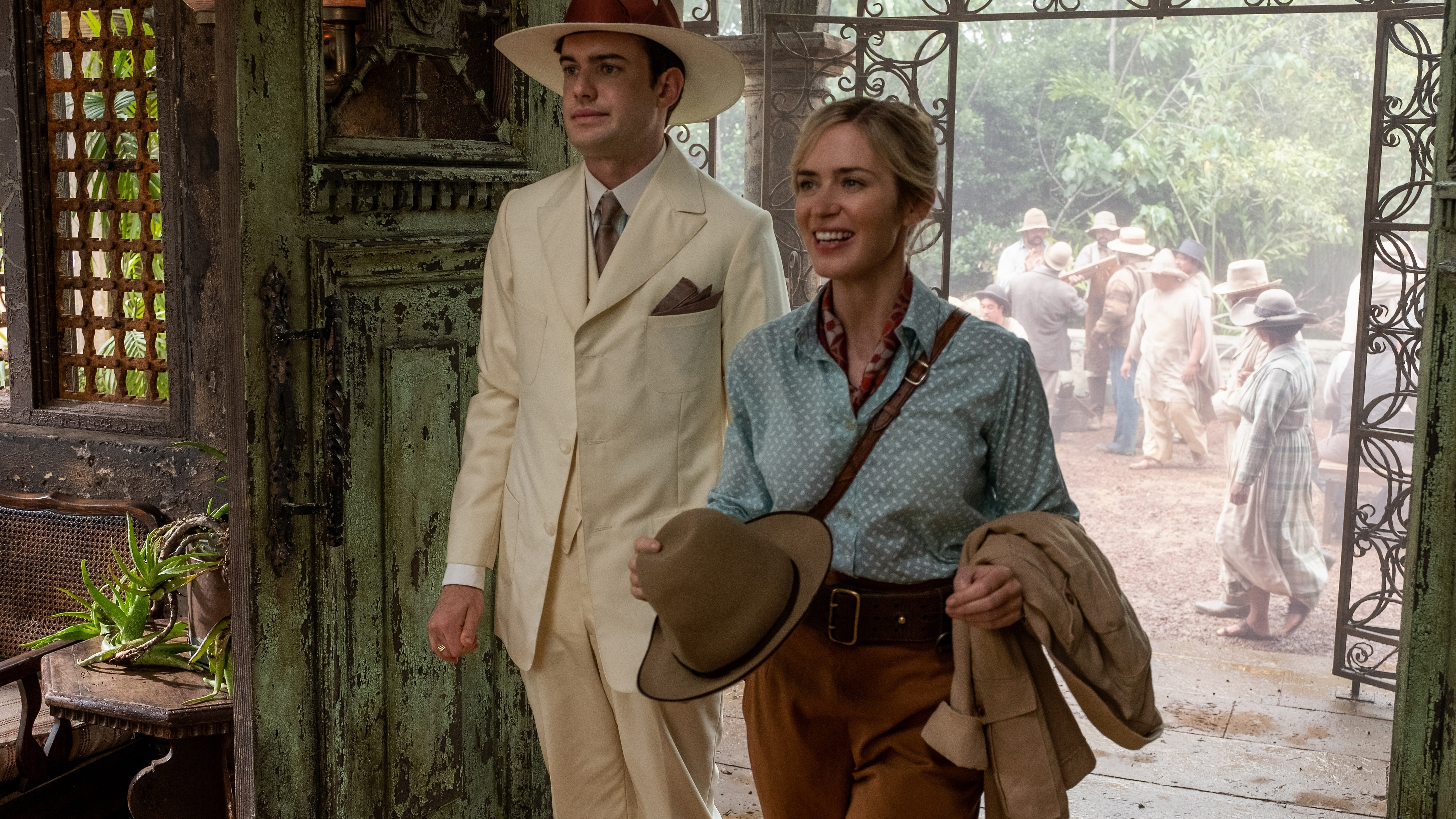 Jack Whitehall is Macgregor and Emily Blunt is Lily in Disney's JUNGLE CRUISE. Photo by Frank Masi. © 2021 Disney Enterprises, Inc. All Rights Reserved.