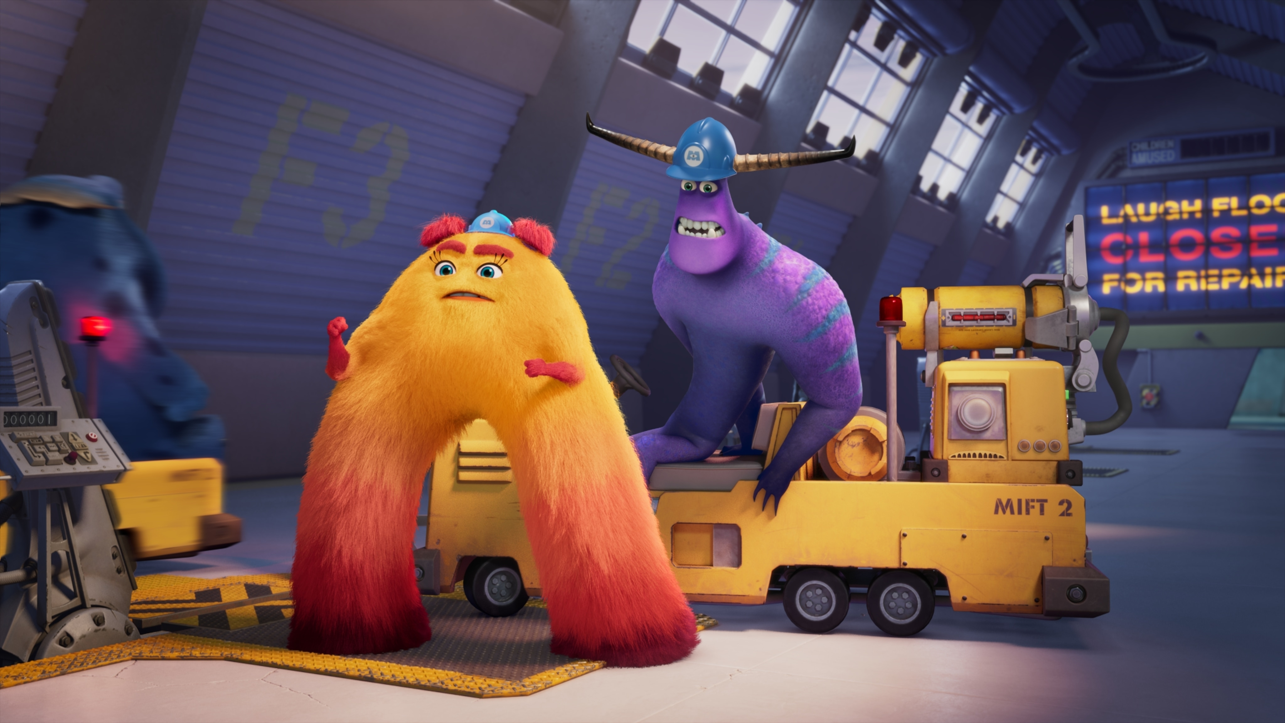 """MONSTERS AT WORK - """"Meet Mift"""" - When Tylor is initiated into MIFT during a bizarre ritual, he wants nothing more than to get away from his odd coworkers.  But when an emergency strikes Monsters, Inc., MIFT kicks into action and Tylor develops a hint of respect for the misfit team. (Disney) VAL, TYLOR"""