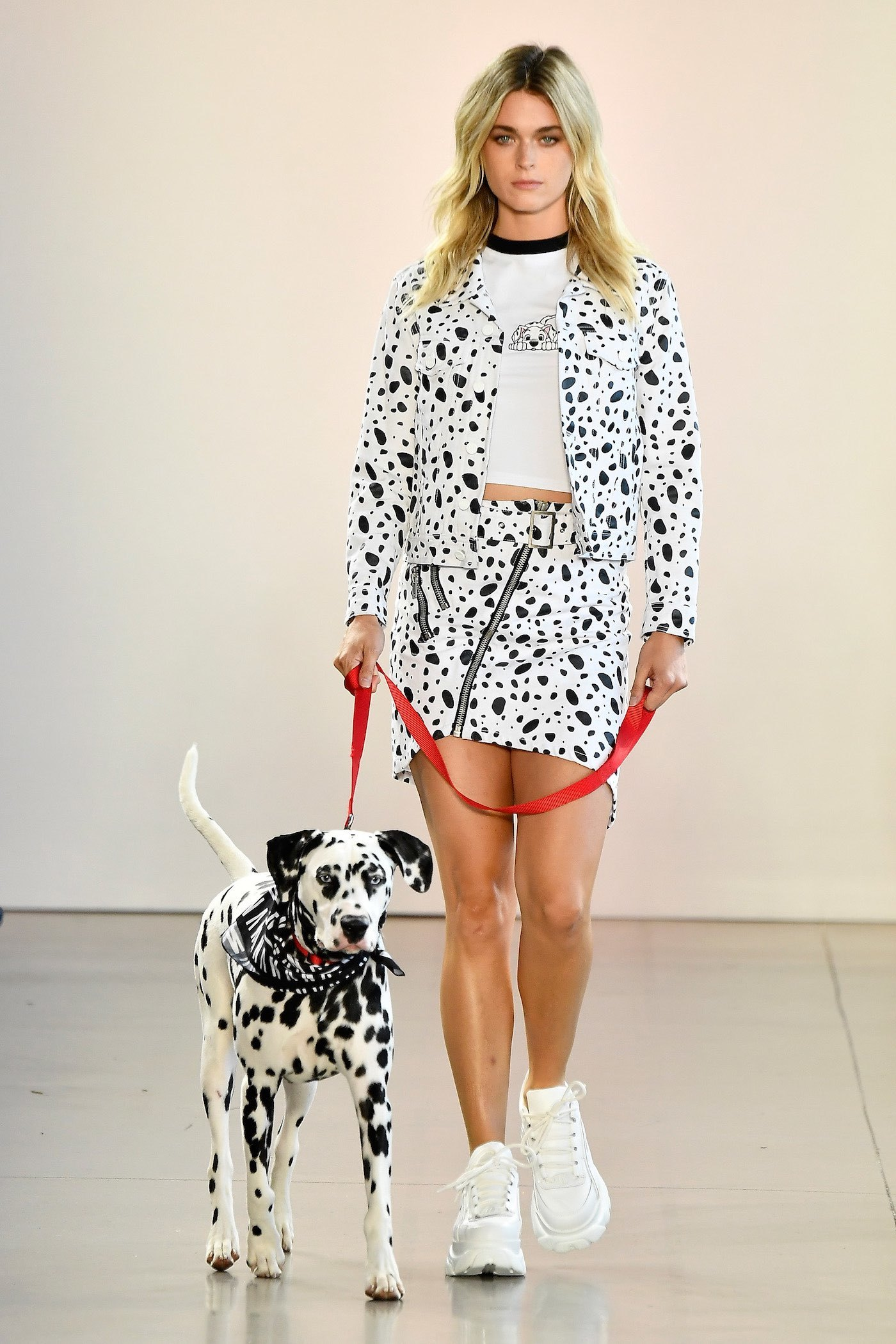 Model sporting 101 Dalmatian outfit by NANA JUDY