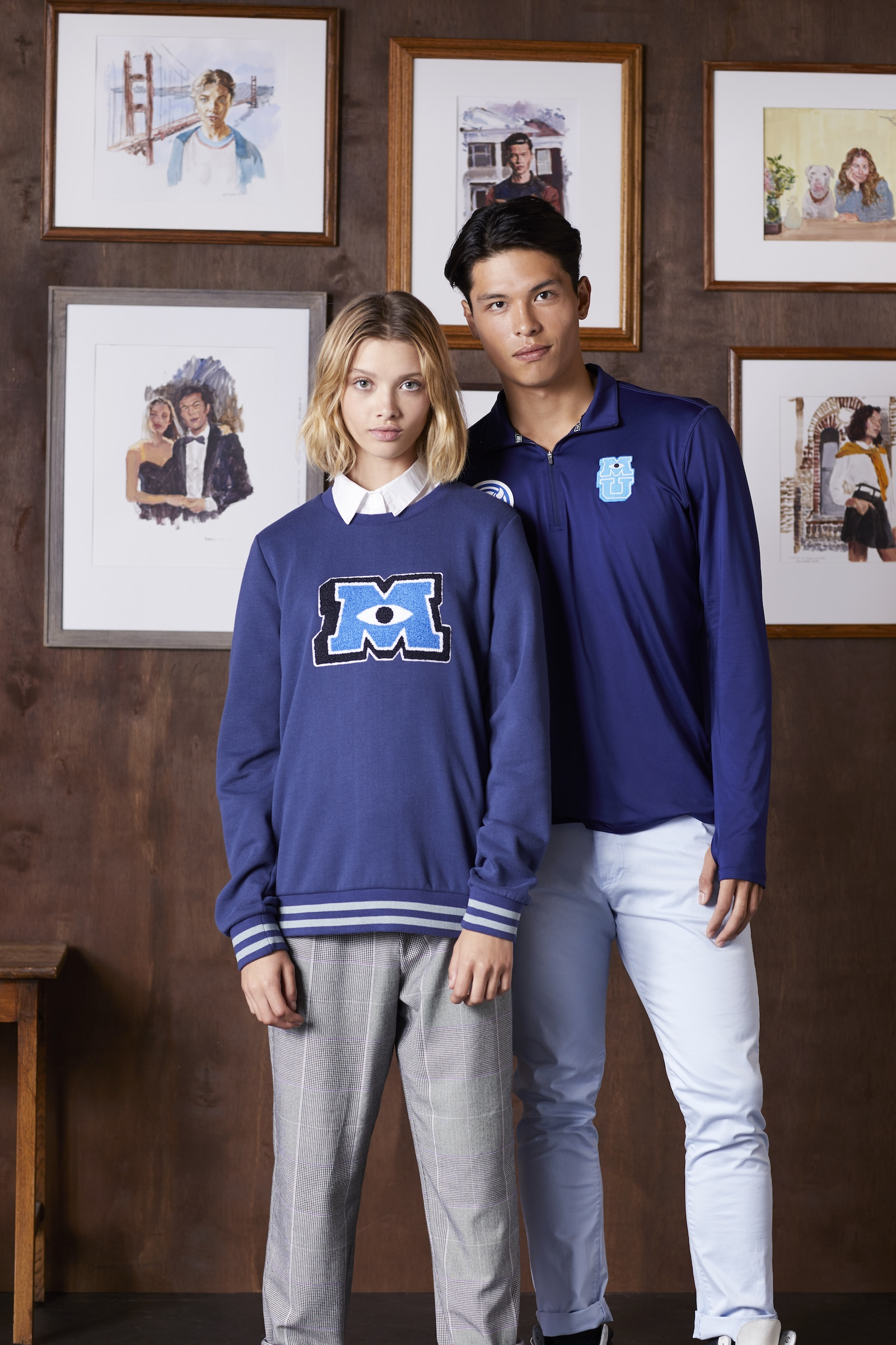 Models wearing clothing from the Monsters University Collection