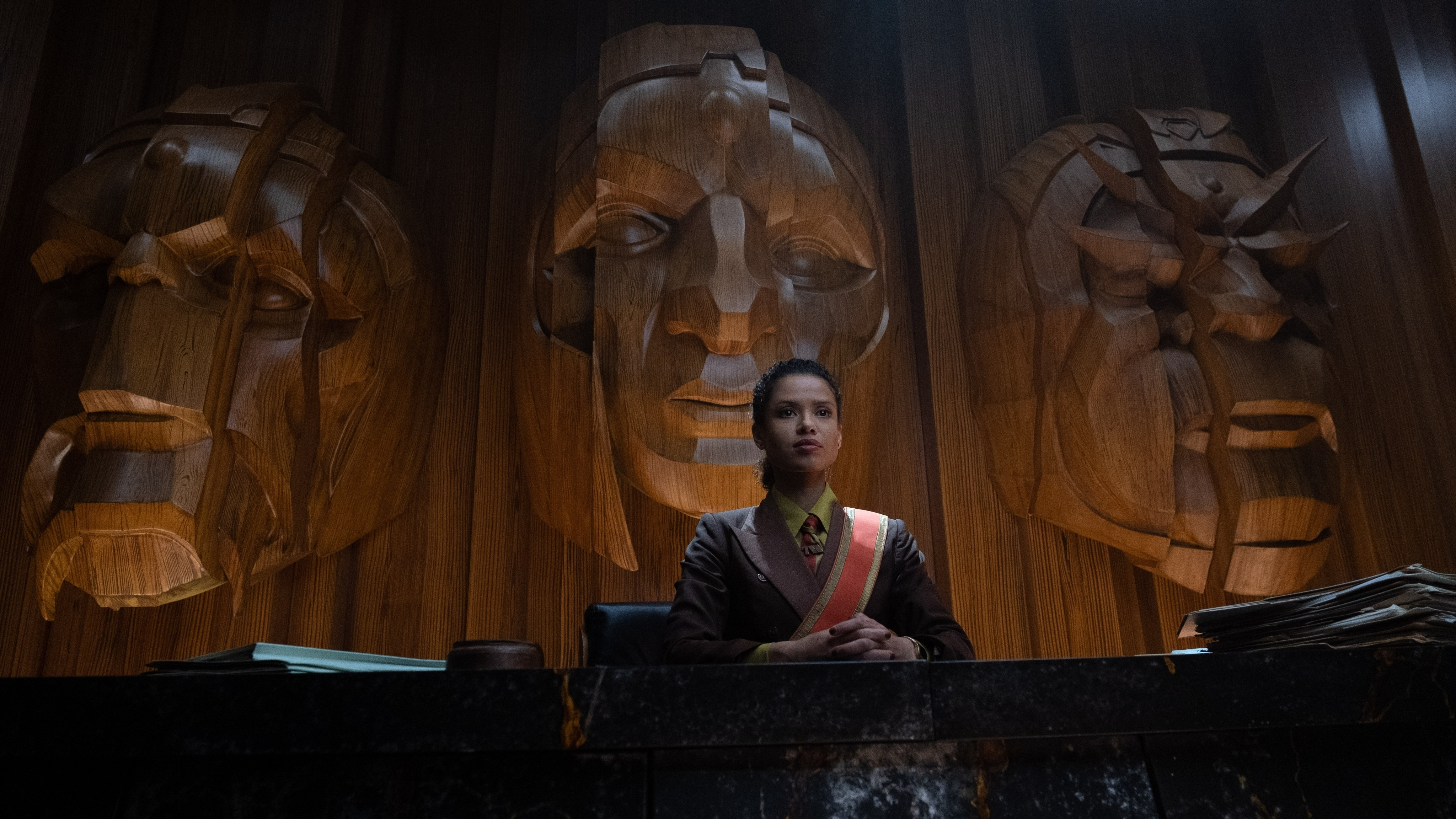 Judge Renslayer (Gugu Mbatha-Raw) in Marvel Studios' LOKI, exclusively on Disney+. Photo by Chuck Zlotnick. ©Marvel Studios 2021. All Rights Reserved.