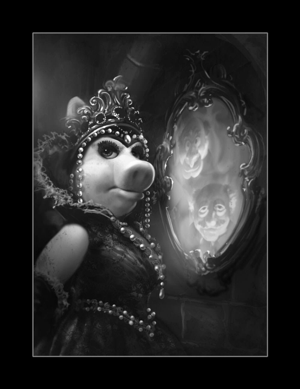 Black and white illustration of Miss Piggy as the Evil Queen and Statler & Waldorf as the Magic Mirror