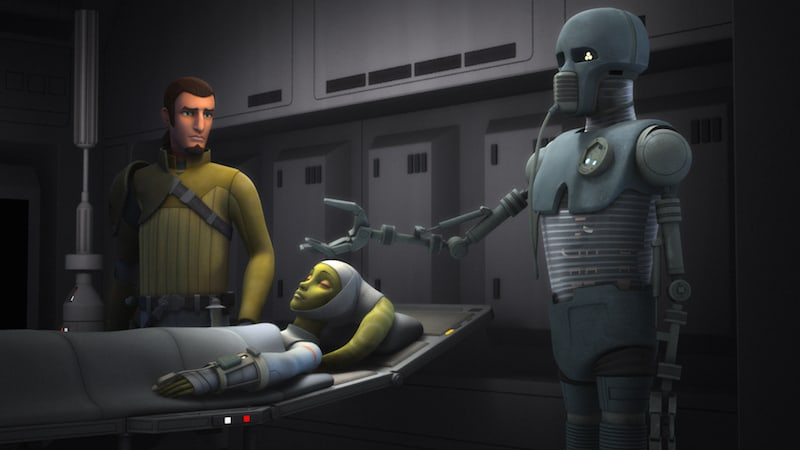 A 2-1B droid in a medical room with Kanan Jarrus and a critically wounded Hera Syndulla
