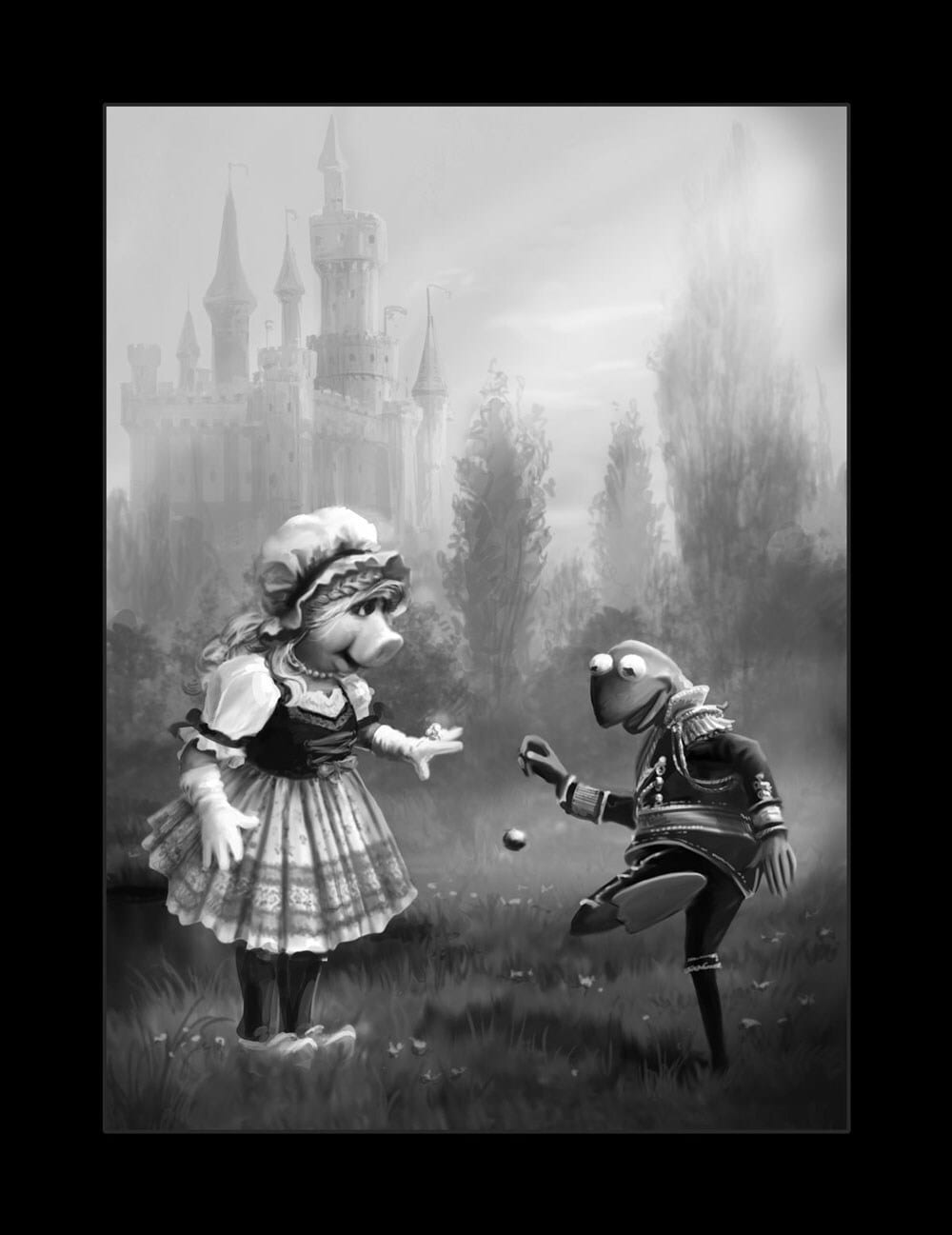 Black and white illustration of Miss Piggy and Kermit