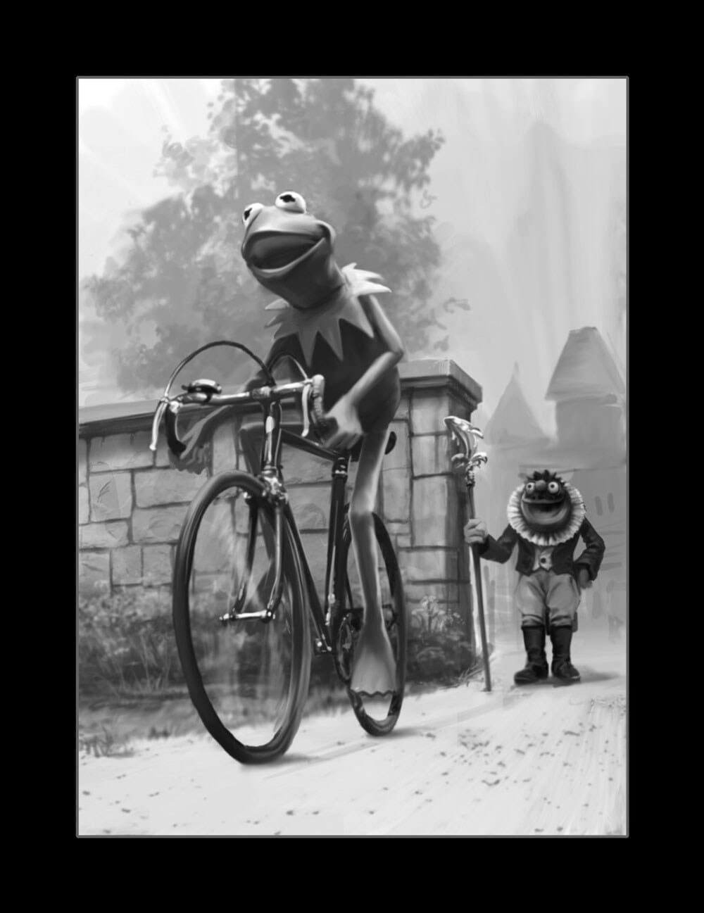 Black and white illustration of Kermit the Frog and Lew Zealand