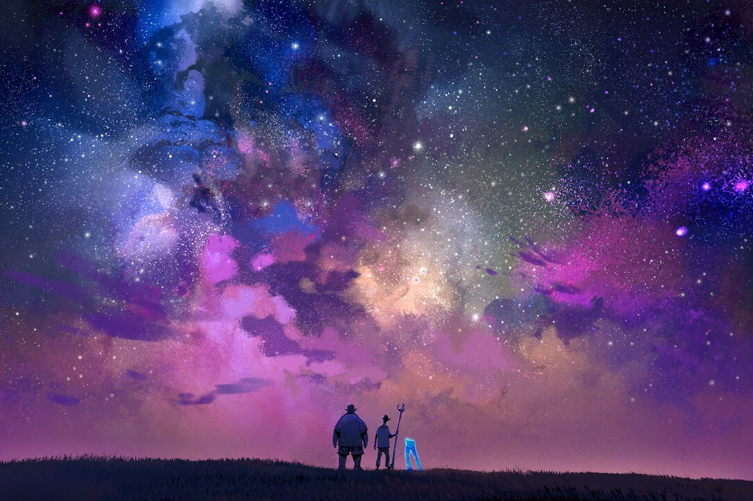 Concept art featuring Ian, Barley, and their dad under a purple pink starry night sky