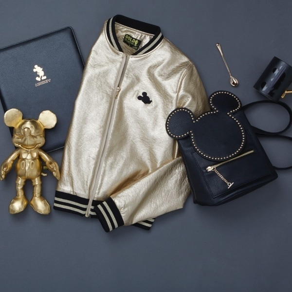 Mickey Mouse Gold Collection notebook, plush, varsity jacket and backpack