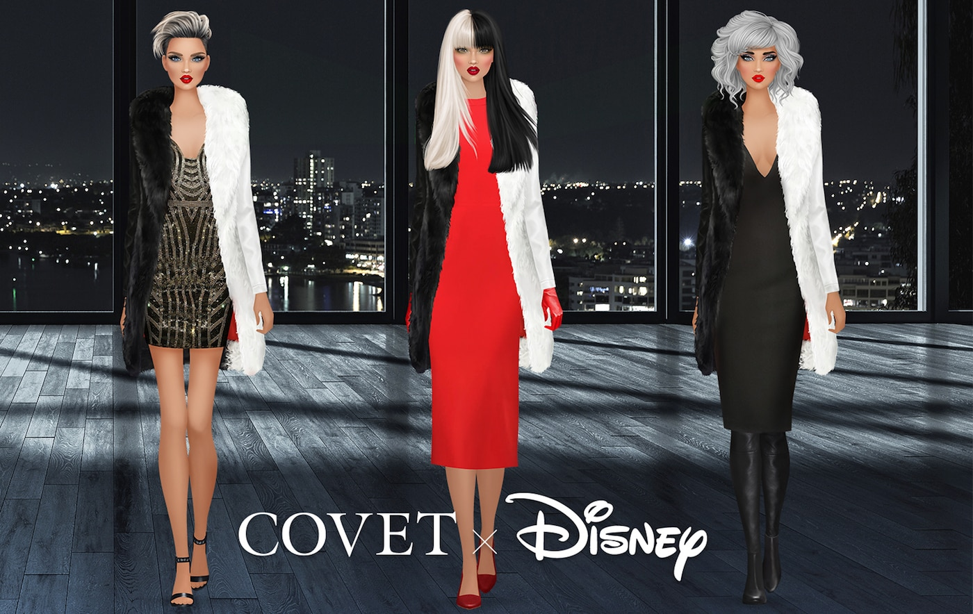 Three different outfit inspirations for Cruella de Vil
