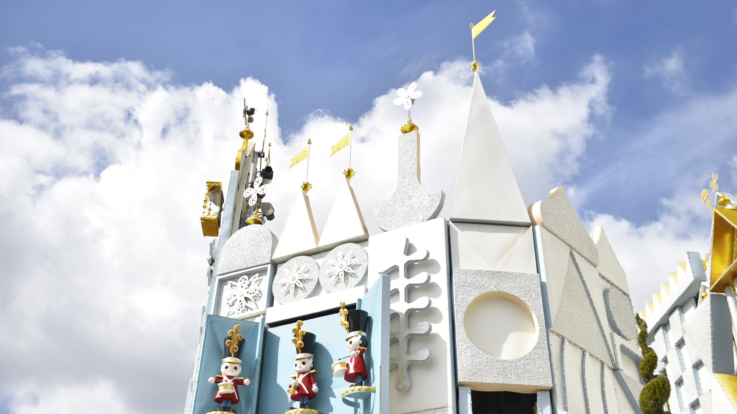 """Image of the exterior castle and toy soldiers at the """"it's a small world"""" ride."""