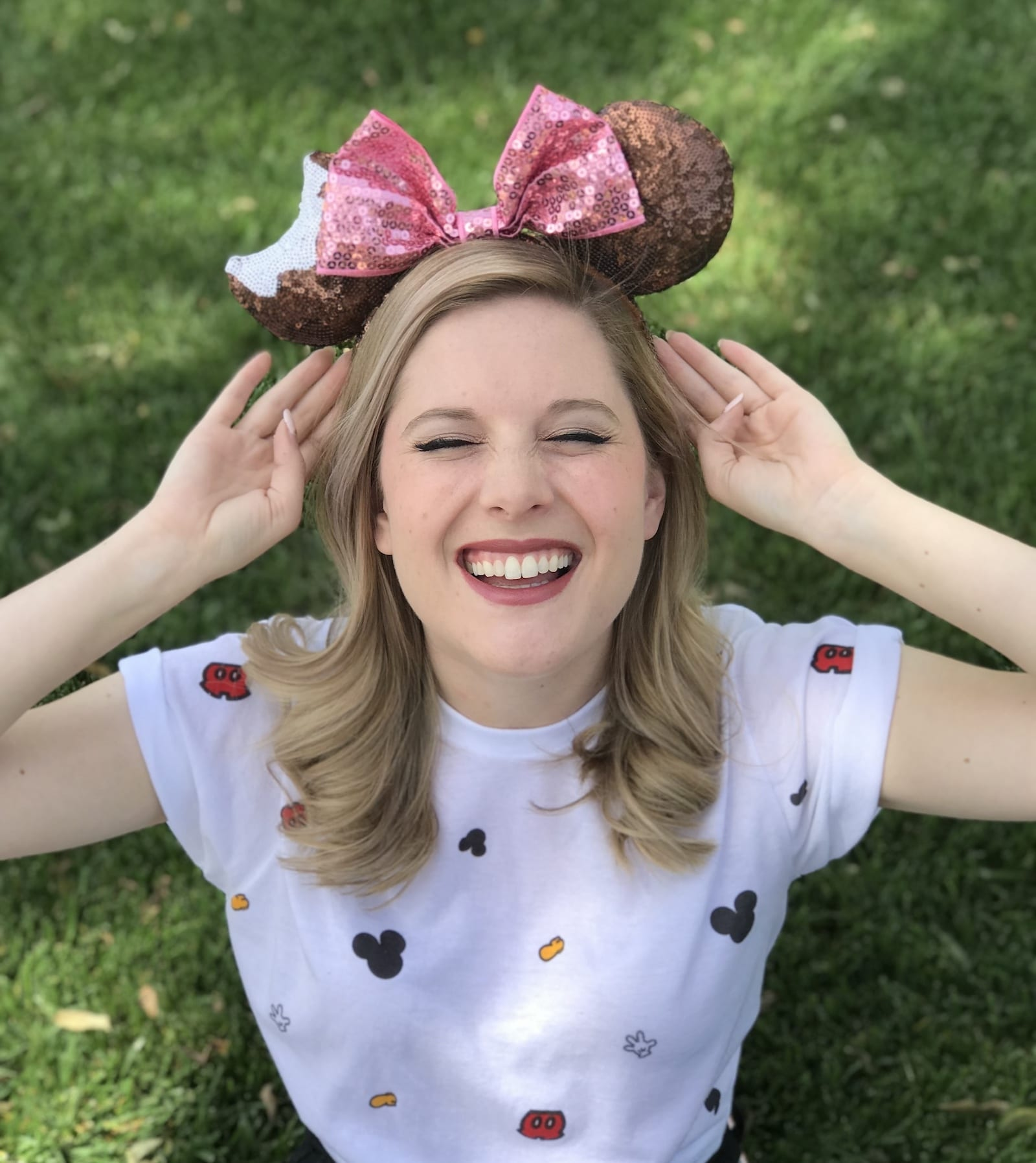 Pink and brown sequin Mickey ears