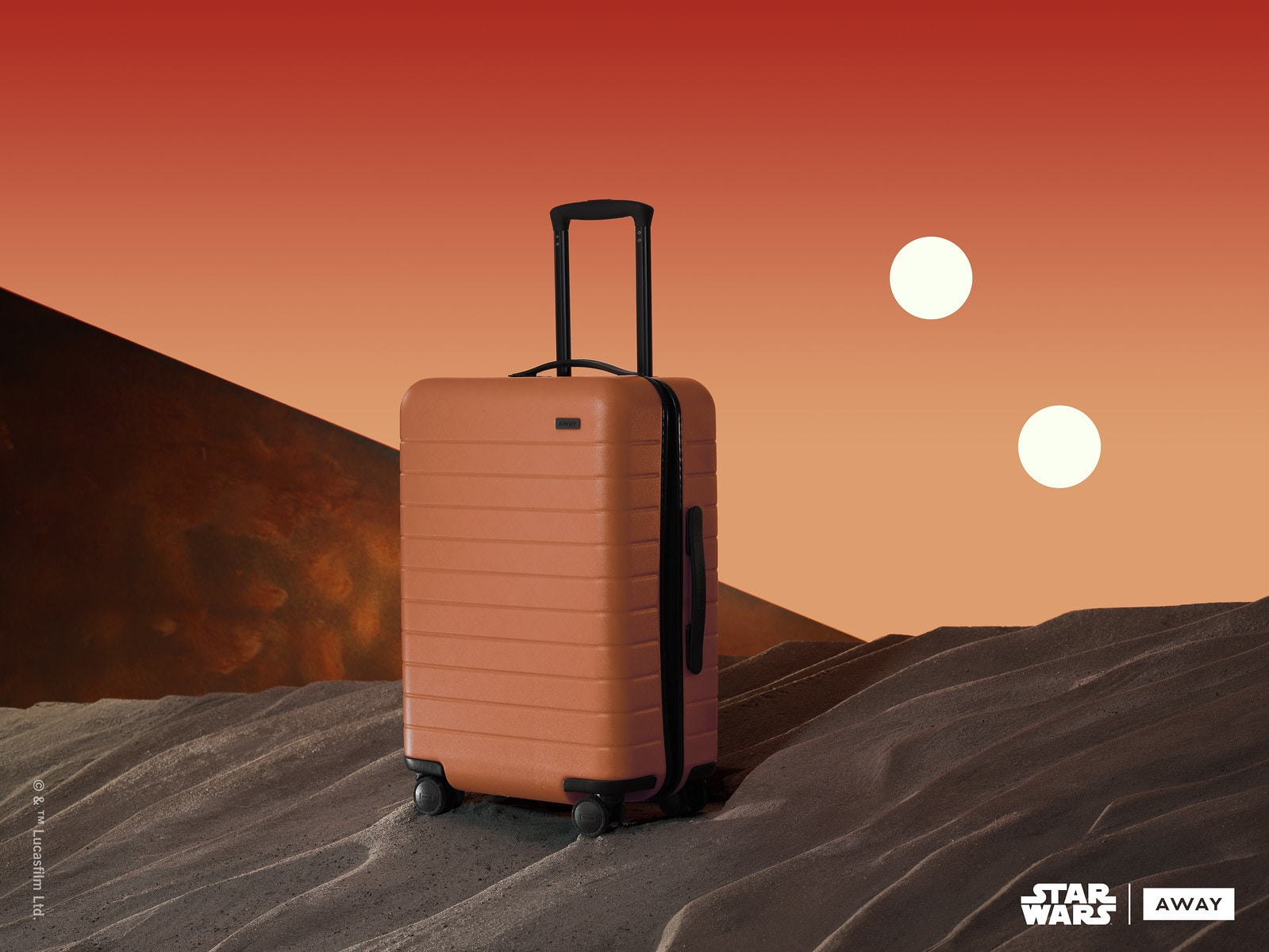 Orange Away suitcase inspired by Tatoonie from the Star Wars collection