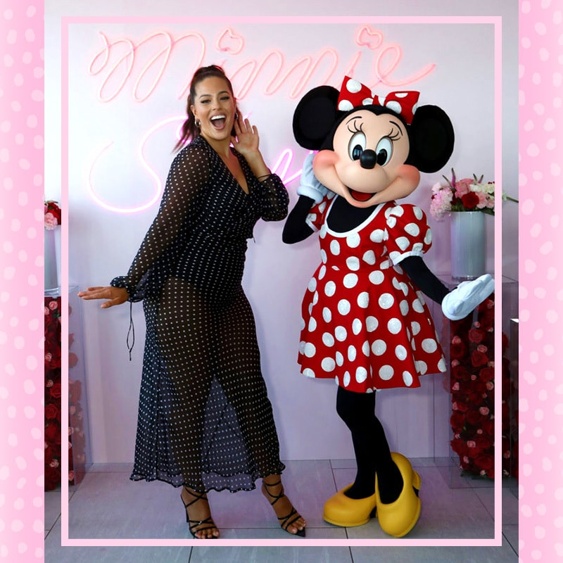 Ashley Graham wearing  matching polka-dot with Minnie Mouse