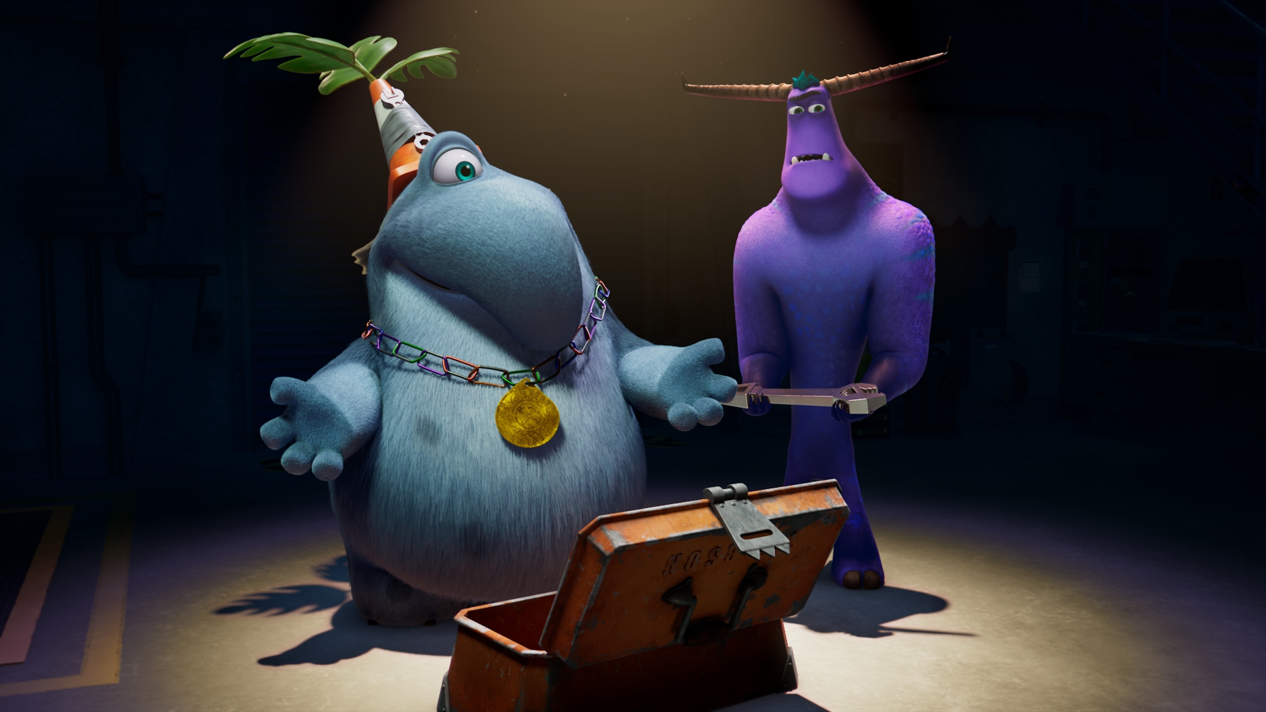 """MONSTERS AT WORK - """"Meet Mift"""" - When Tylor is initiated into MIFT during a bizarre ritual, he wants nothing more than to get away from his odd coworkers.  But when an emergency strikes Monsters, Inc., MIFT kicks into action and Tylor develops a hint of respect for the misfit team. (Disney) FRITZ, TYLOR"""