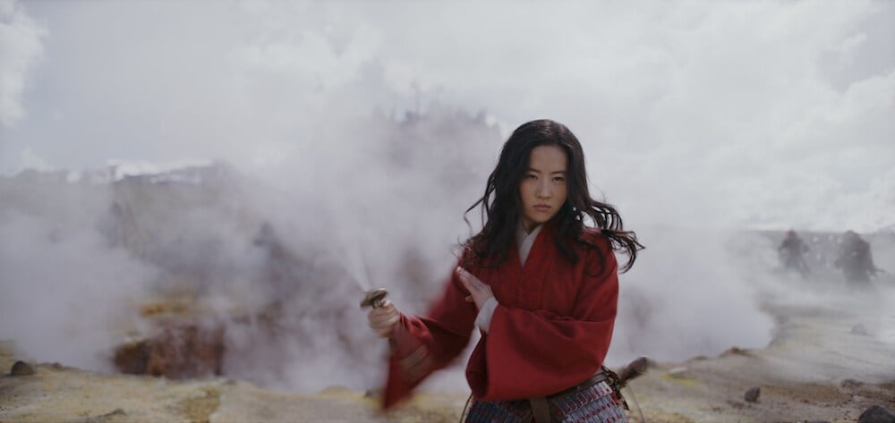 Mulan with sword in smokey background