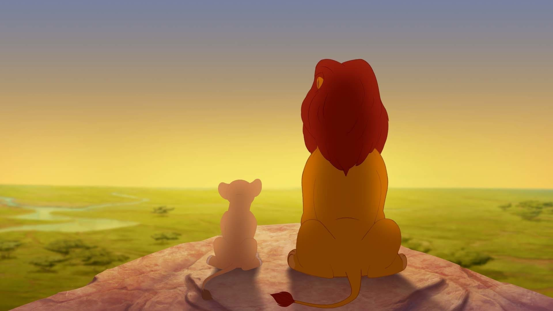 """Kiara and Simba looking at the sunrise on top of Pride Rock.From the movie """"The Lion Guard: Return of the Roar"""""""