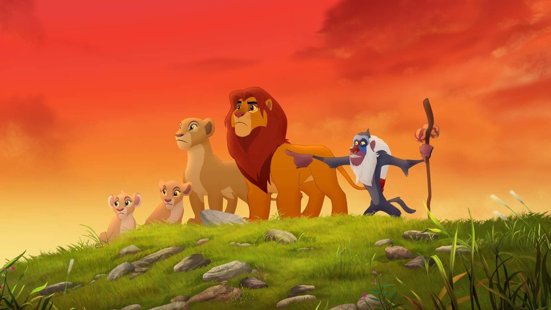 "Tiifu, Kiara, Nala, Simba and Rafiki. From the movie ""The Lion Guard: Return of the Roar"""
