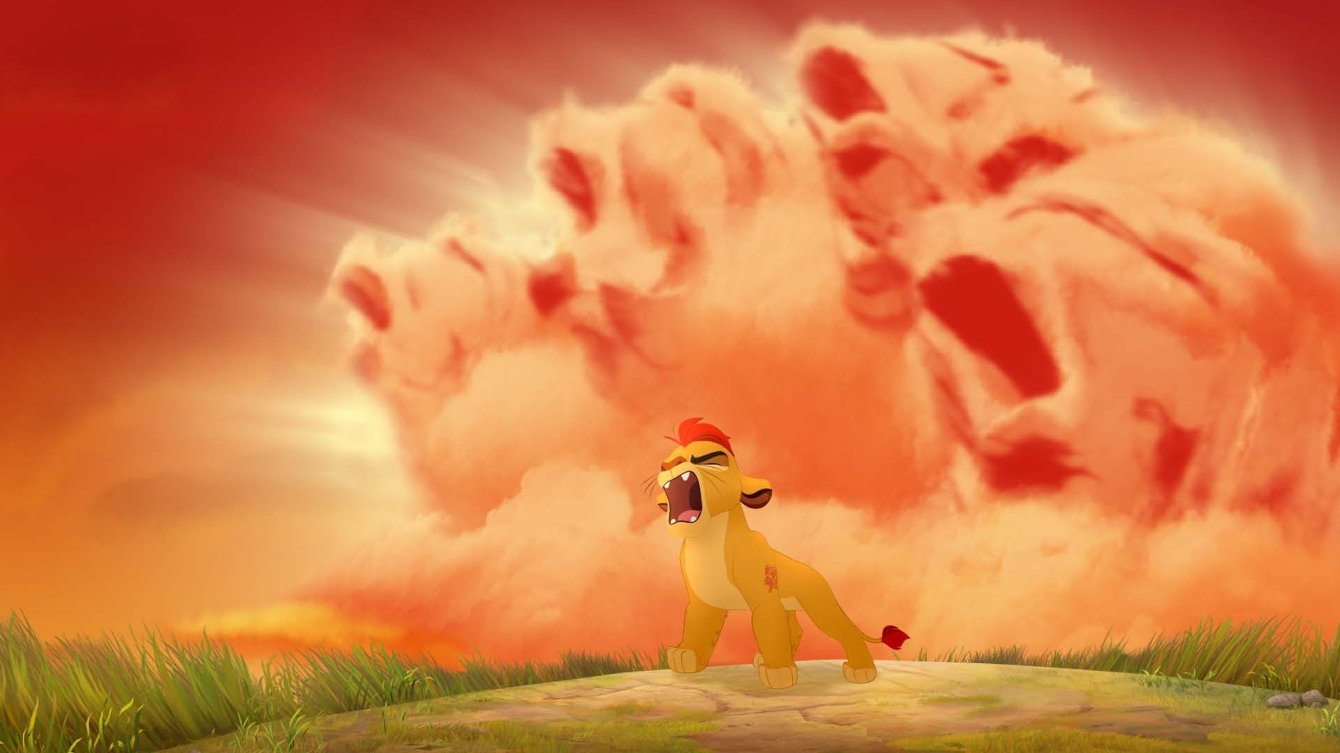"""Kion using the roar to defeat the hyenas. From the movie """"The Lion Guard: Return of the Roar"""""""