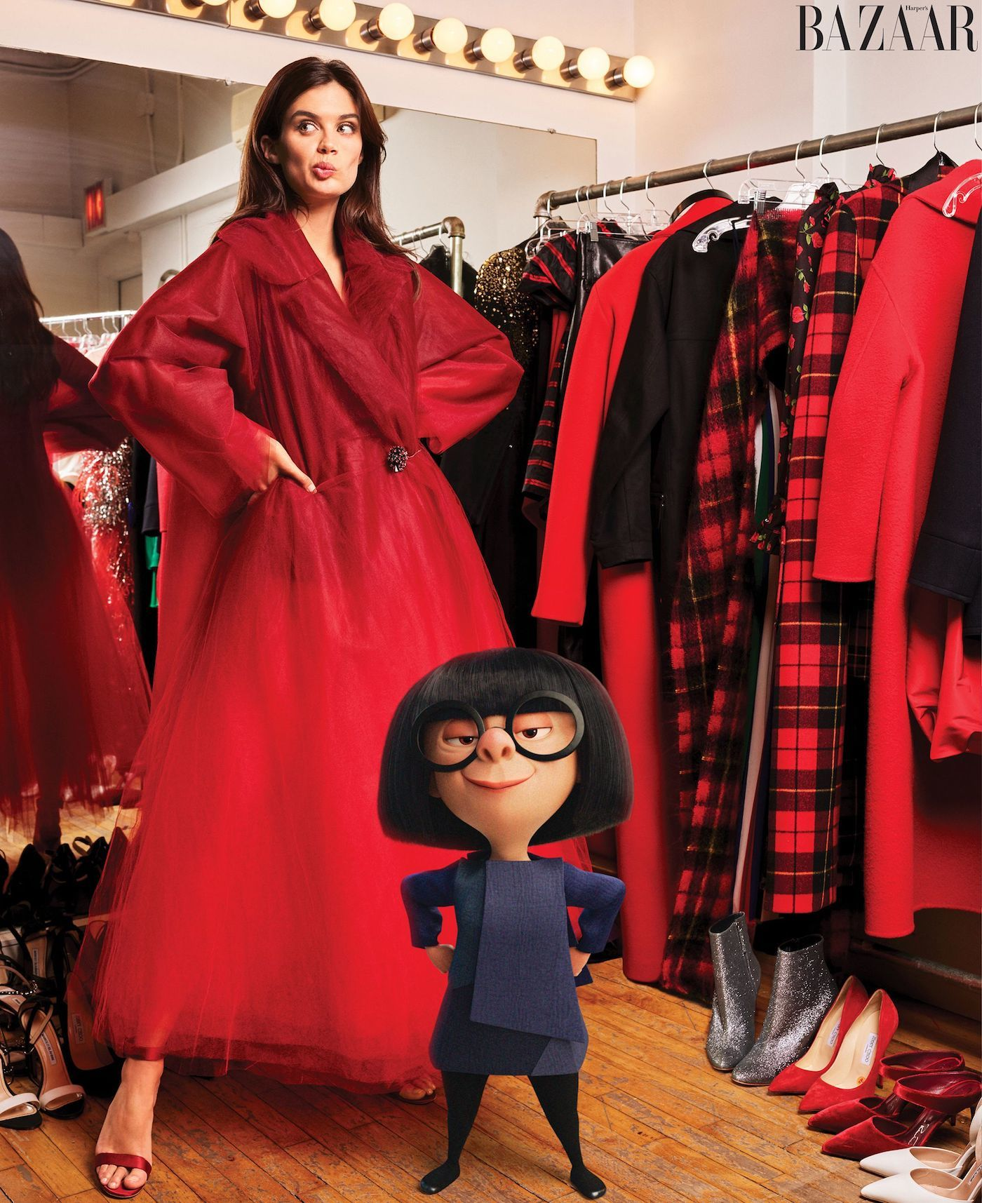 Outfit style from Edna Mode's Interview in Harper's Bazaar