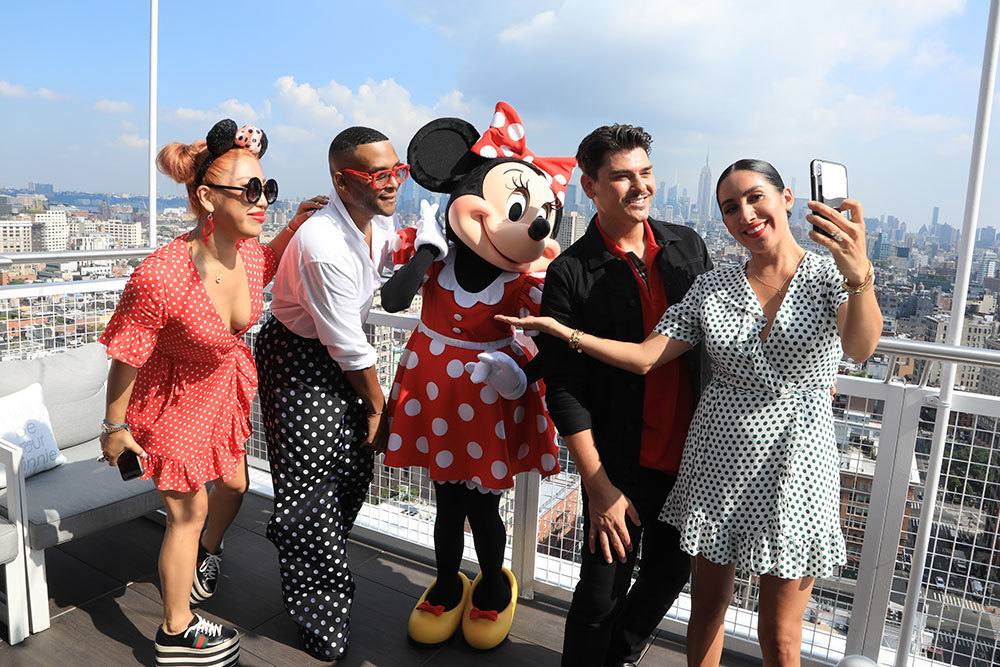 Minnie Mouse posing for a picture with Britney Tokyo, Law Roach, Makeup by Mario, and Jen Atkin