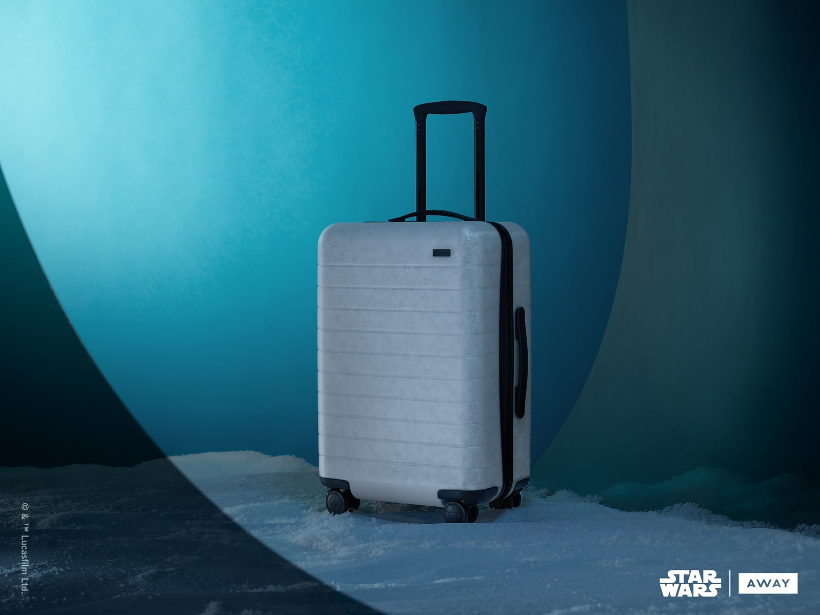 Blue Away suitcase inspired by Hoth from the Star Wars collection