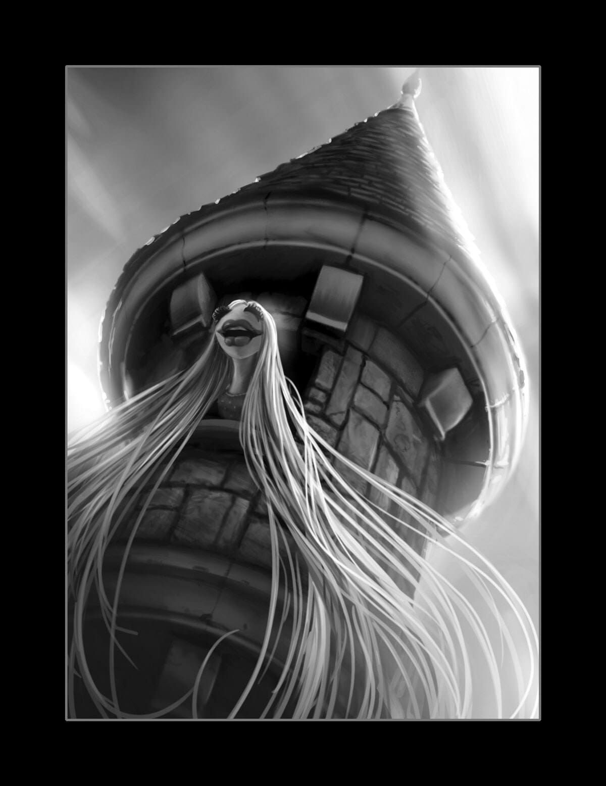 Black and White illustration of Janice as Rapunzel